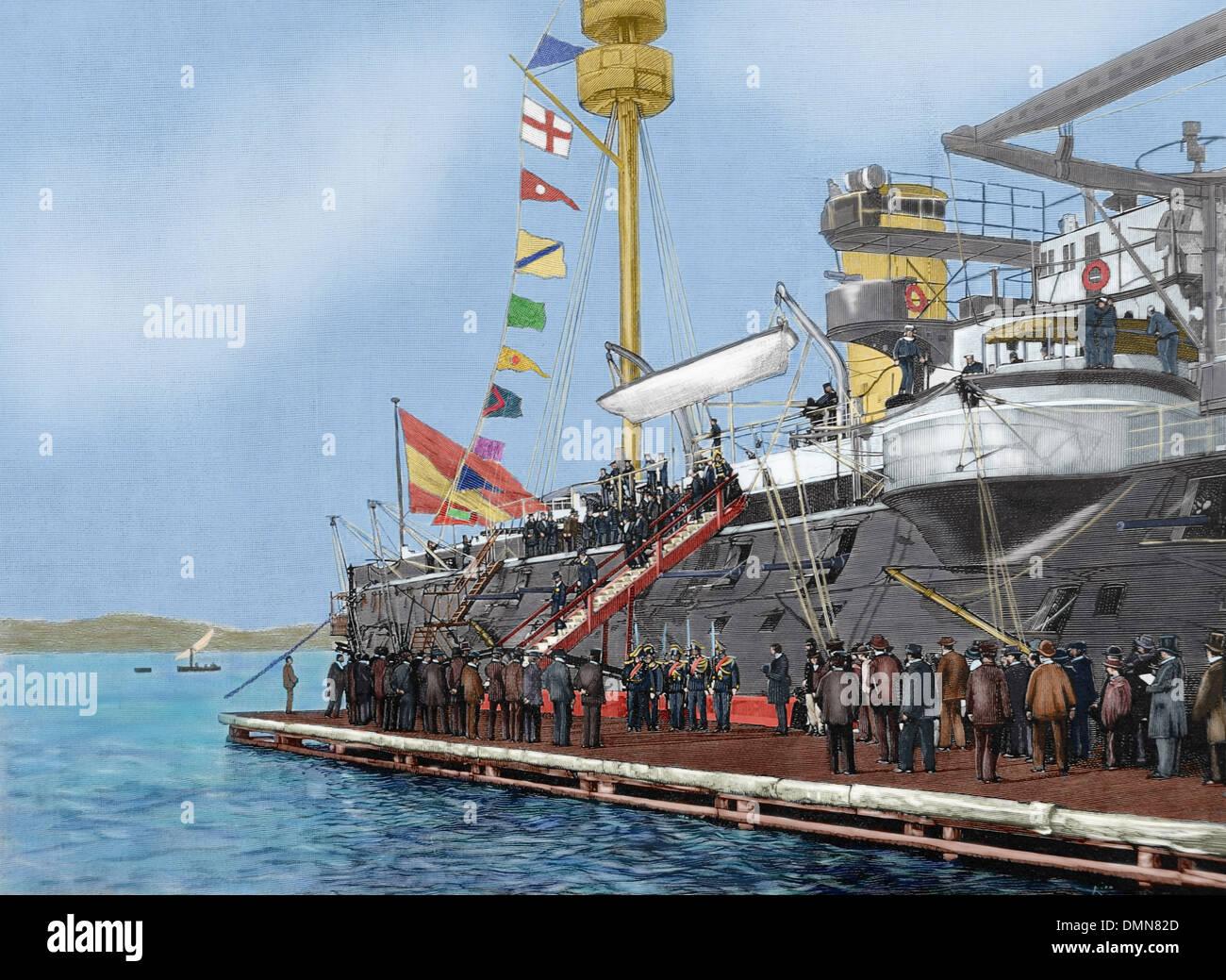 Marie Francois Sadi Carnot (1837 ? 1894), Präsident der dritten französischen Republik, das Schlachtschiff Pelayo zu besuchen. Farbige. Stockbild