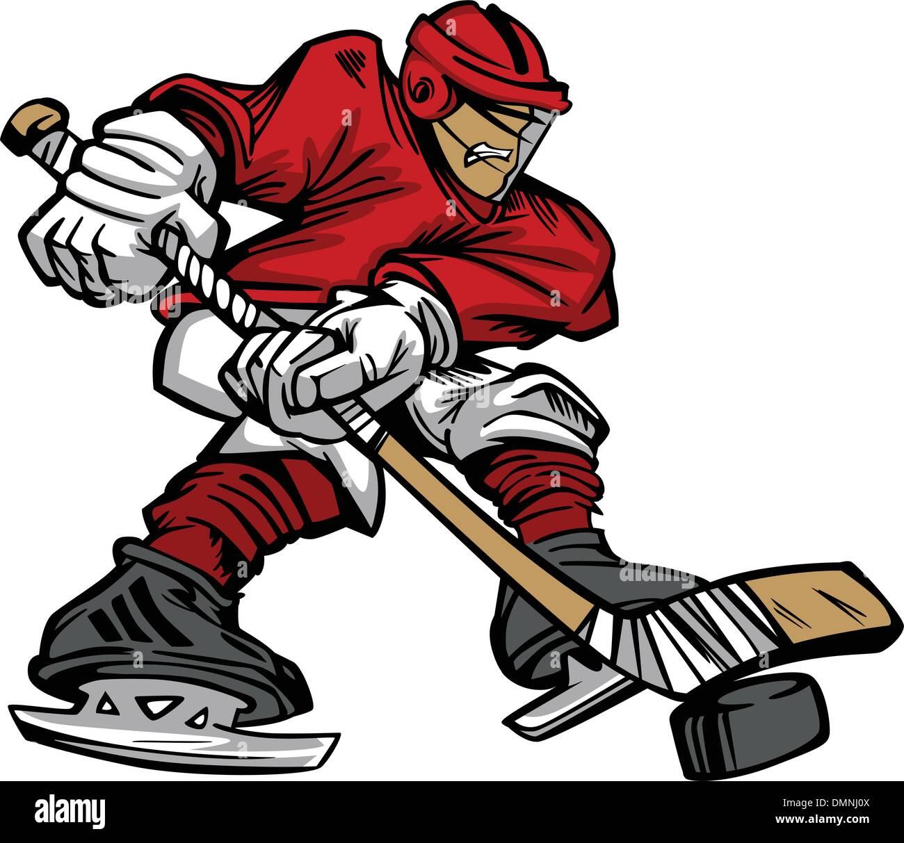 Cartoon Hockey Player Skaten Vektor Stockbild