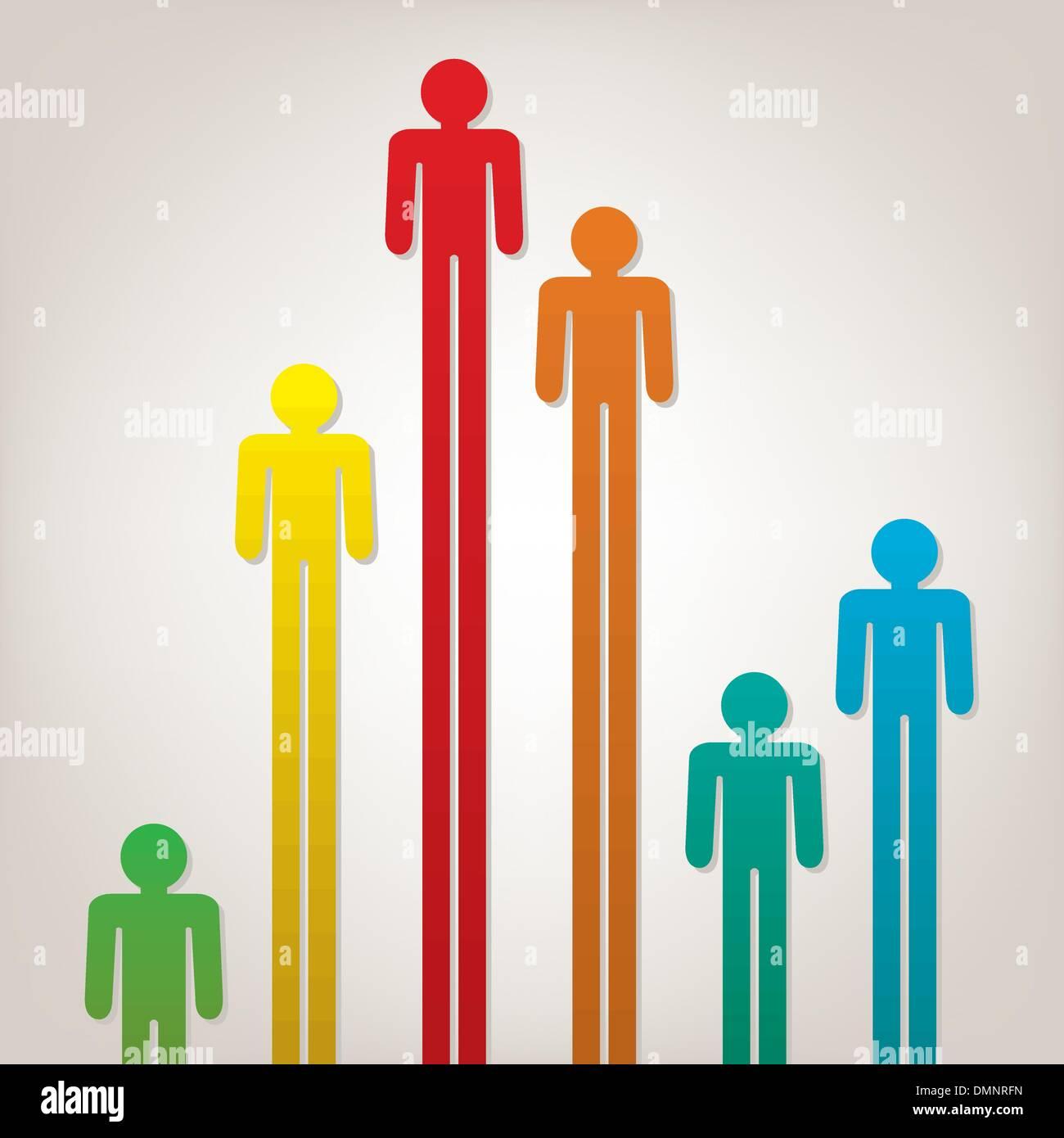 bunte Vektorsymbolen von Menschen Stockbild