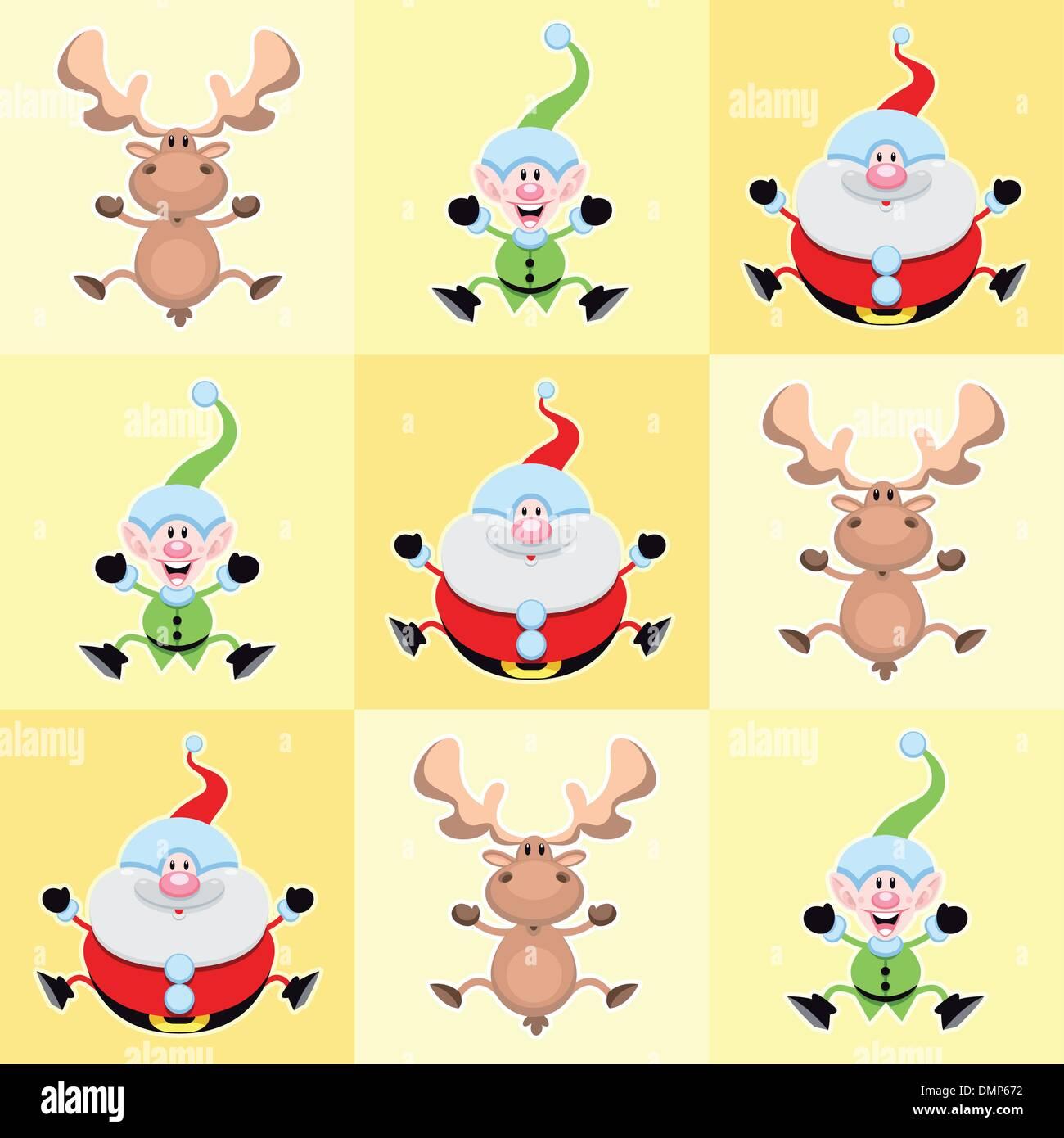Weihnachten-Comic-Figuren in gelben Quadraten. Stockbild