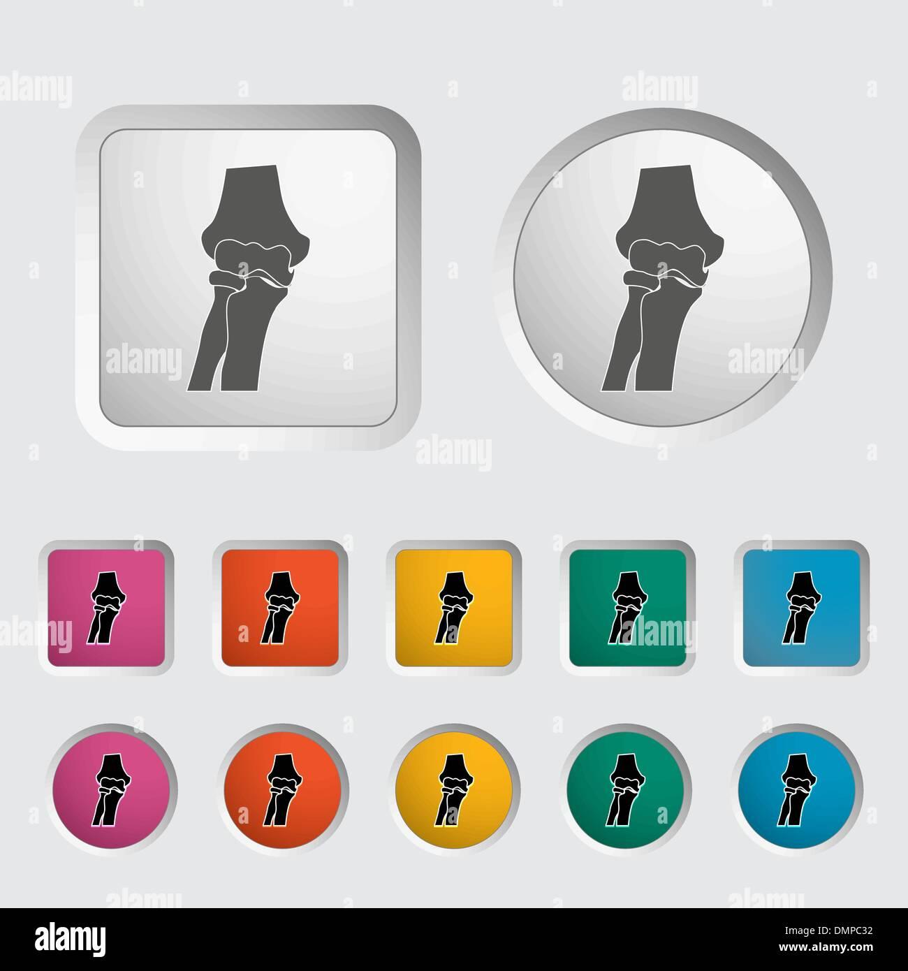 Kniegelenk einzelnes Symbol. Stockbild