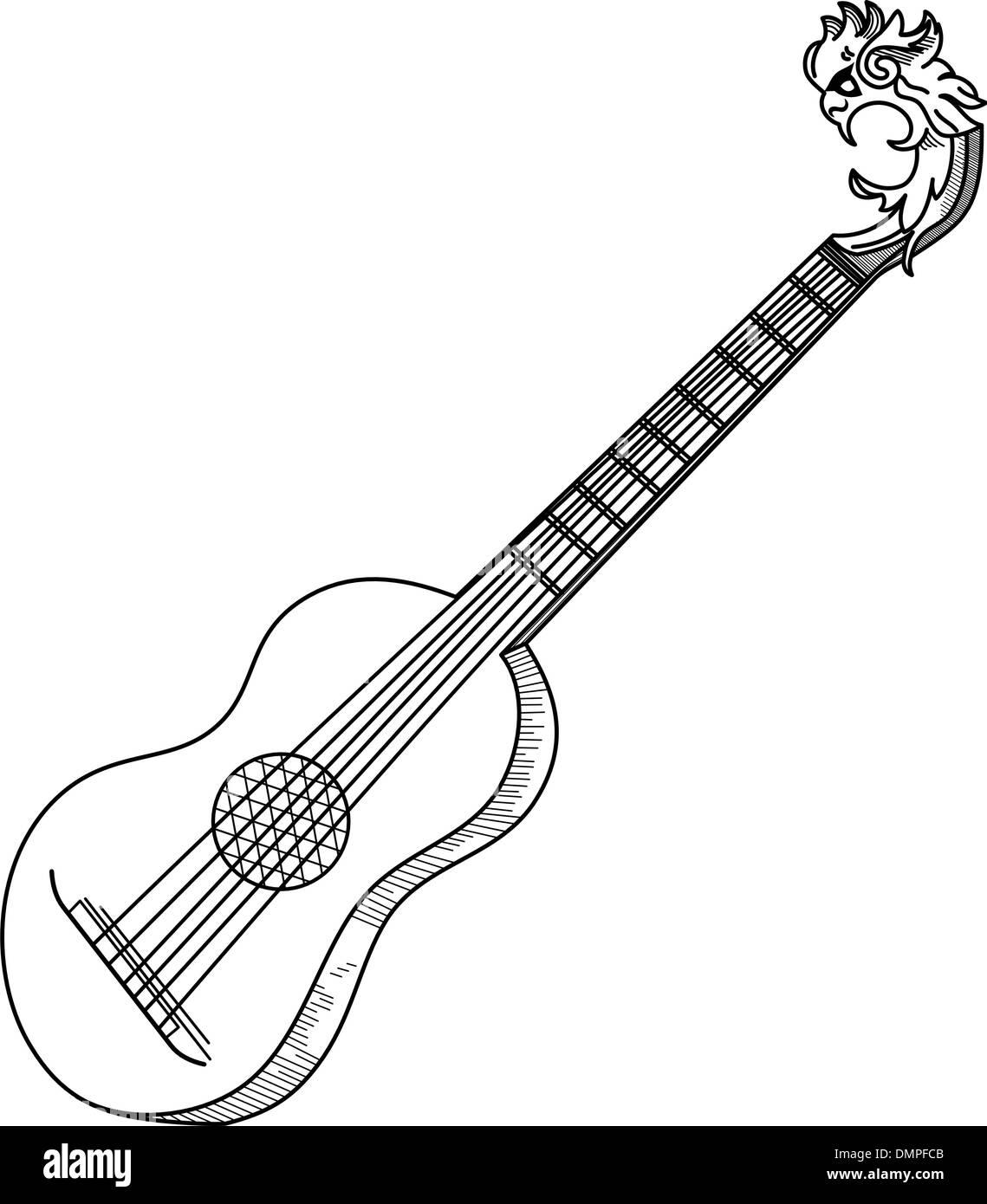 Gitarre auf einem weißen Hintergrund Stockbild