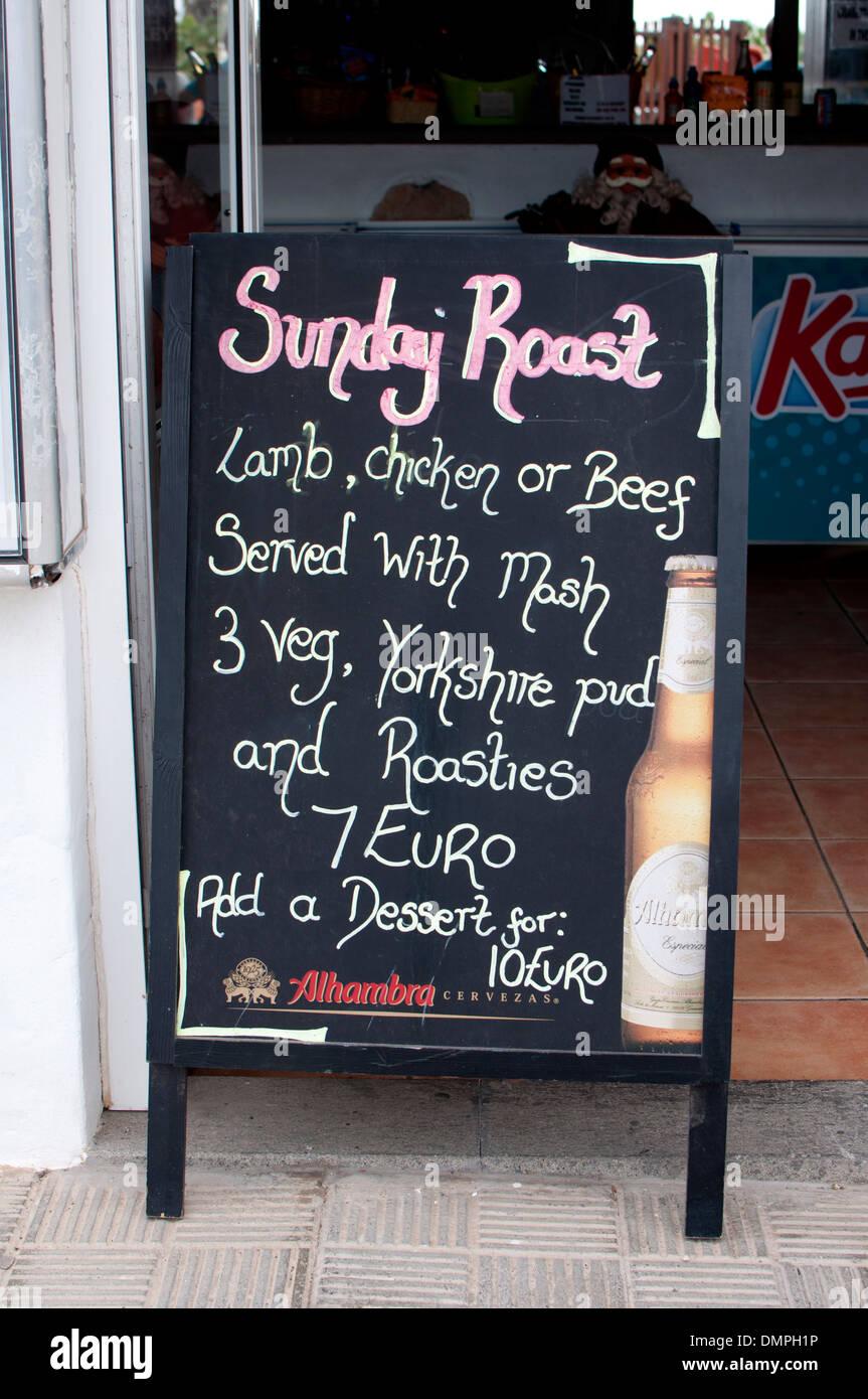 Sonntagsbraten Sie Zeichen, Caleta de Fuste, Fuerteventura, Kanarische Inseln. Stockbild