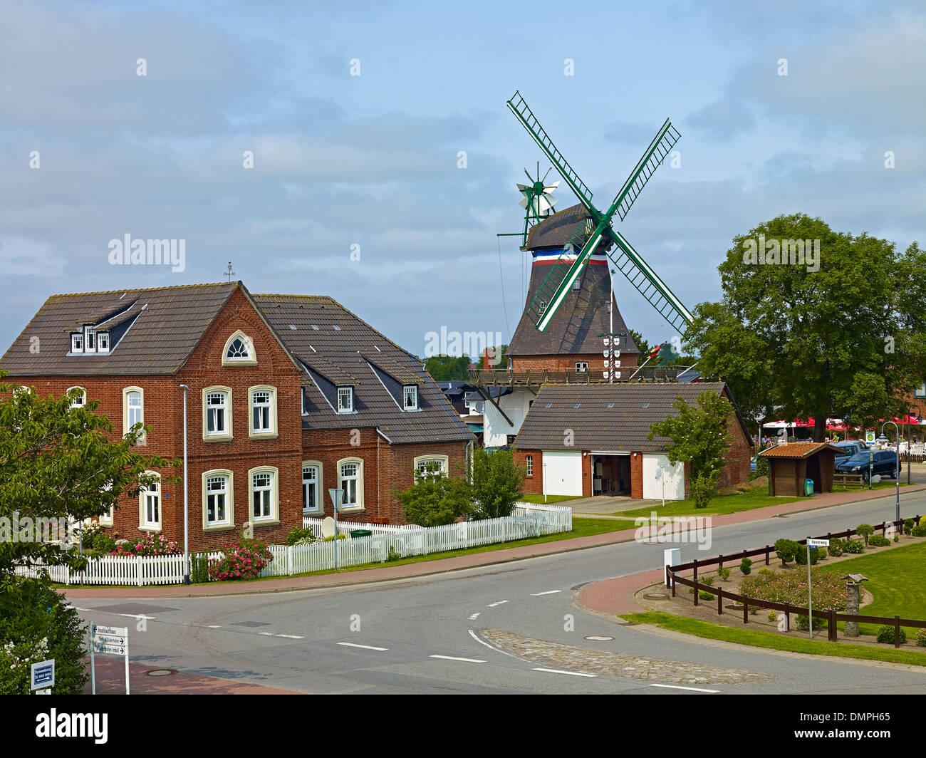 Windmühle Engel, Süderhafen auf Nordstrand-Halbinsel, Kreis Nordfriesland, Schleswig-Holstein, Deutschland Stockbild