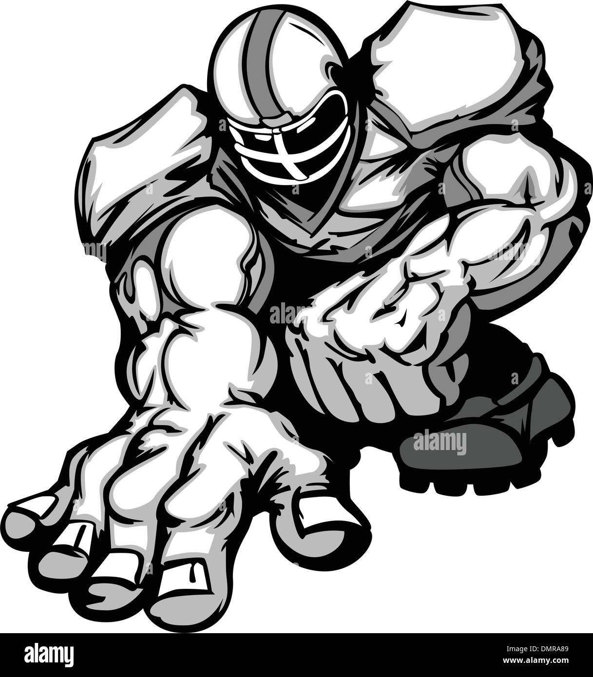 Fußball Spieler Lineman Vector Cartoon Stockbild