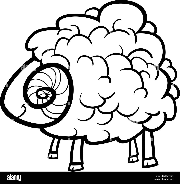 Farm Sheep Cartoon Coloring Book Stockfotos & Farm Sheep Cartoon ...