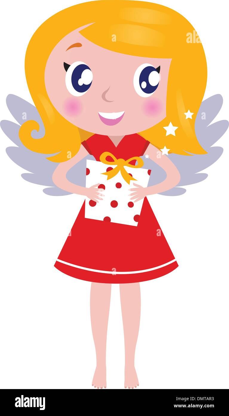 Weihnachten Cartoon Engel Mädchen Mit Geschenk Isoliert Auf