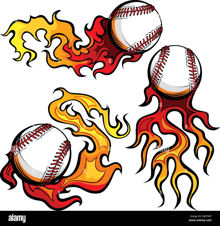 Baseballs mit Flammen-Vektor-Bilder Stockbild