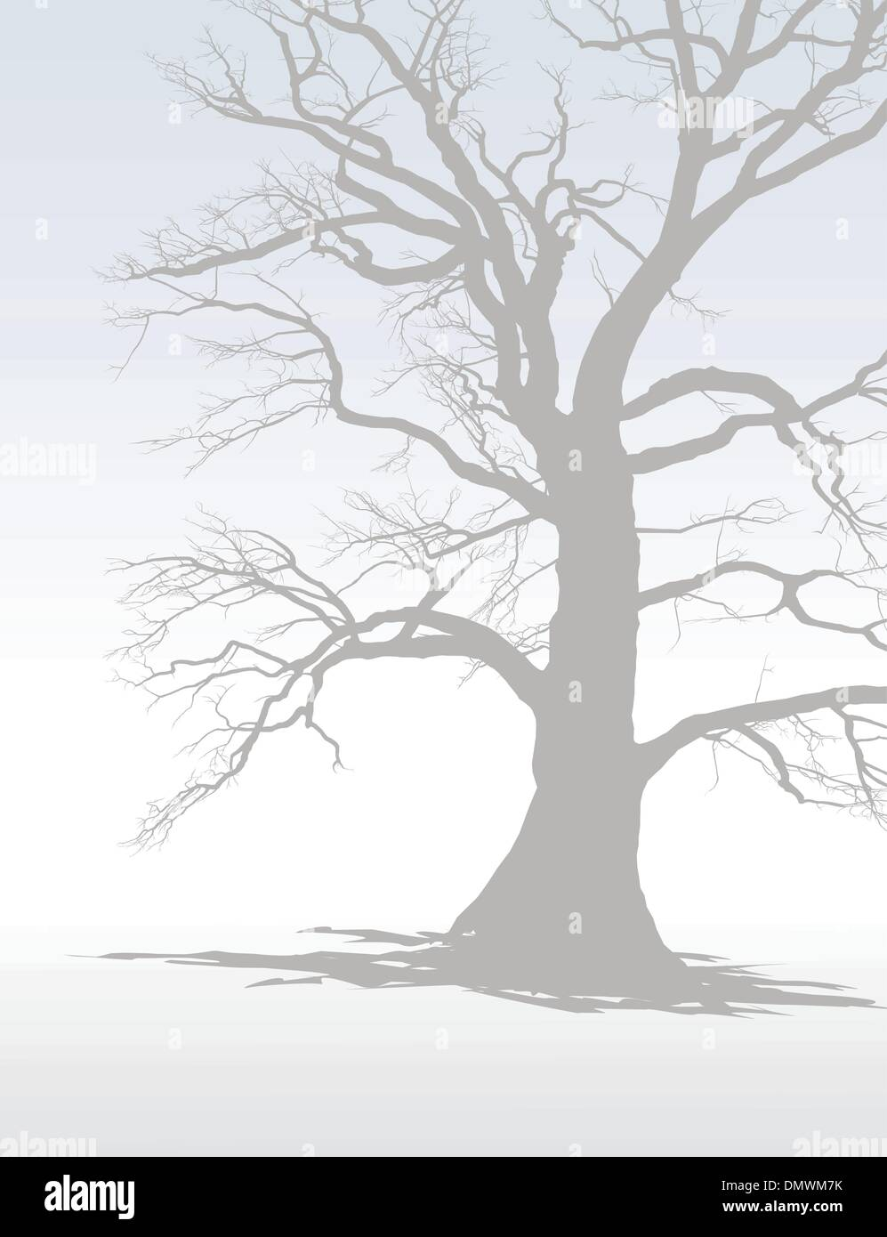 Baum im Winter Nebel Stock Vektor