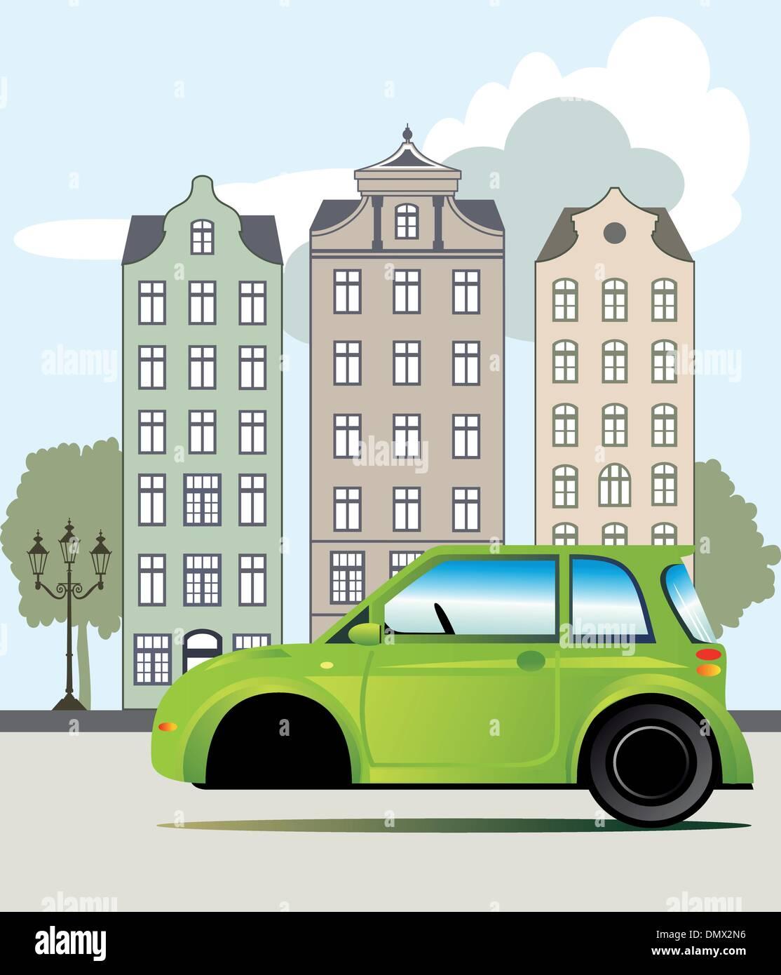 Grünes Auto in der Stadt Stockbild