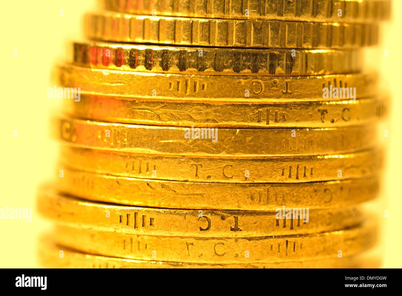 Stapel von türkischen Geld Münzen Nahaufnahme Stockbild