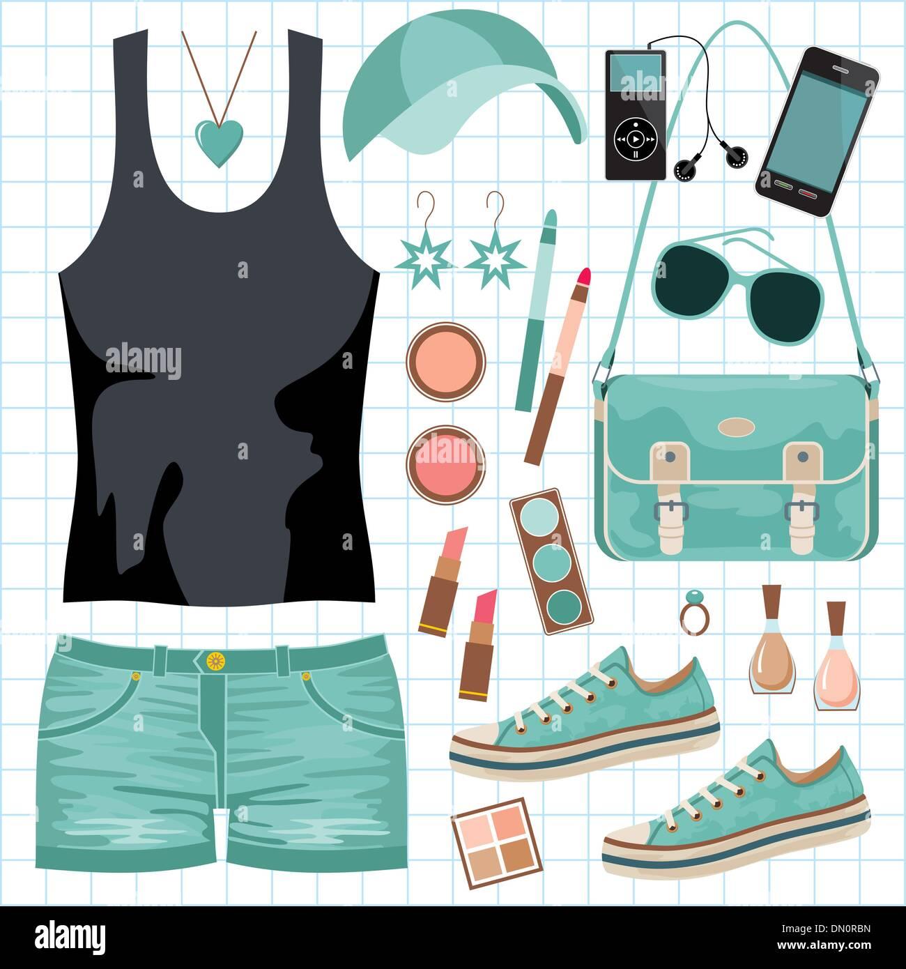 Jugend-Mode-set Stockbild