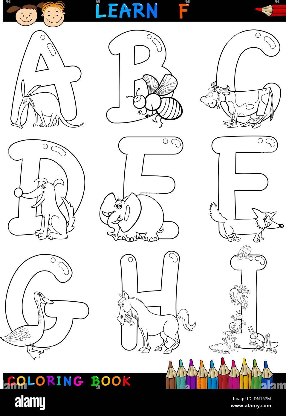 Cartoon-Alphabet mit Tieren zum Ausmalen Stock-Vektorgrafik - Alamy