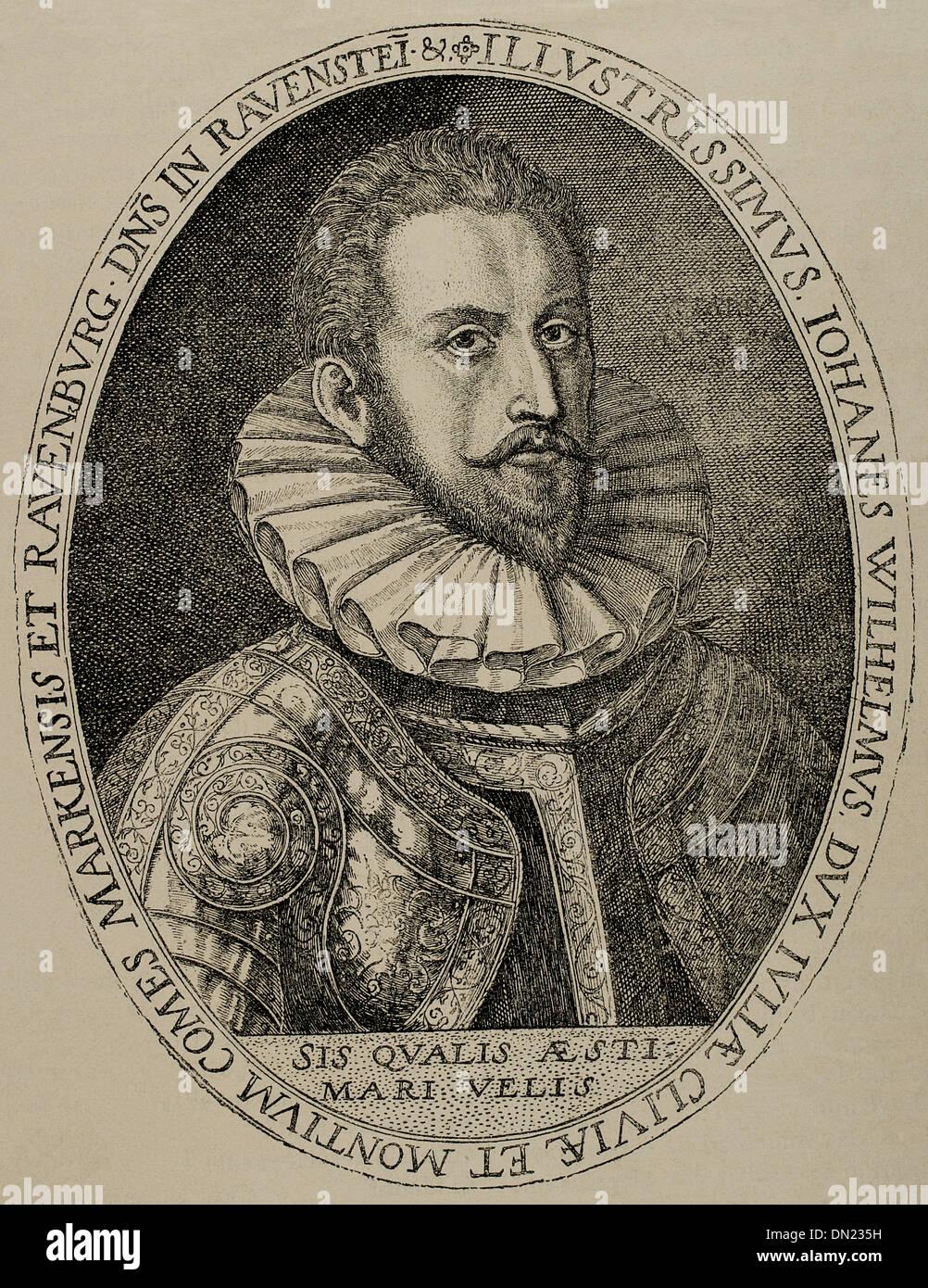 John William, Herzog von Jülich-Cleves-Berg (1562-1609). Kupferstich von Cripin Passe, 1592. Stockbild