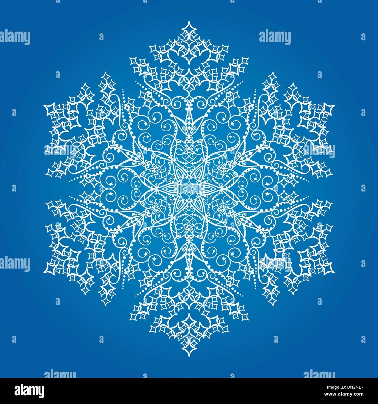 Einzigen detaillierten Schneeflocke auf hellblauem Hintergrund Stockbild