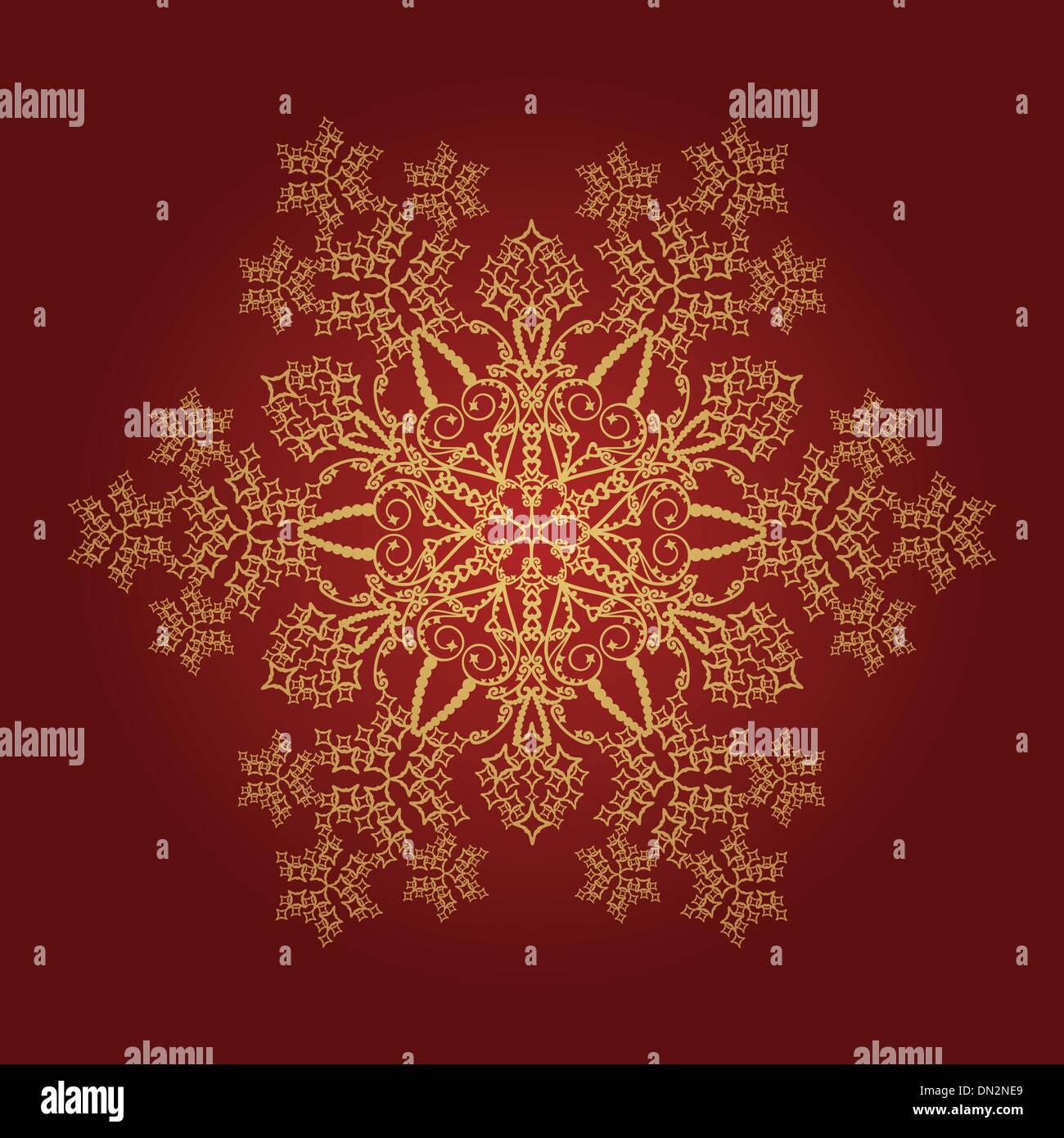Detaillierten goldene Schneeflocke auf rotem Grund Stockbild
