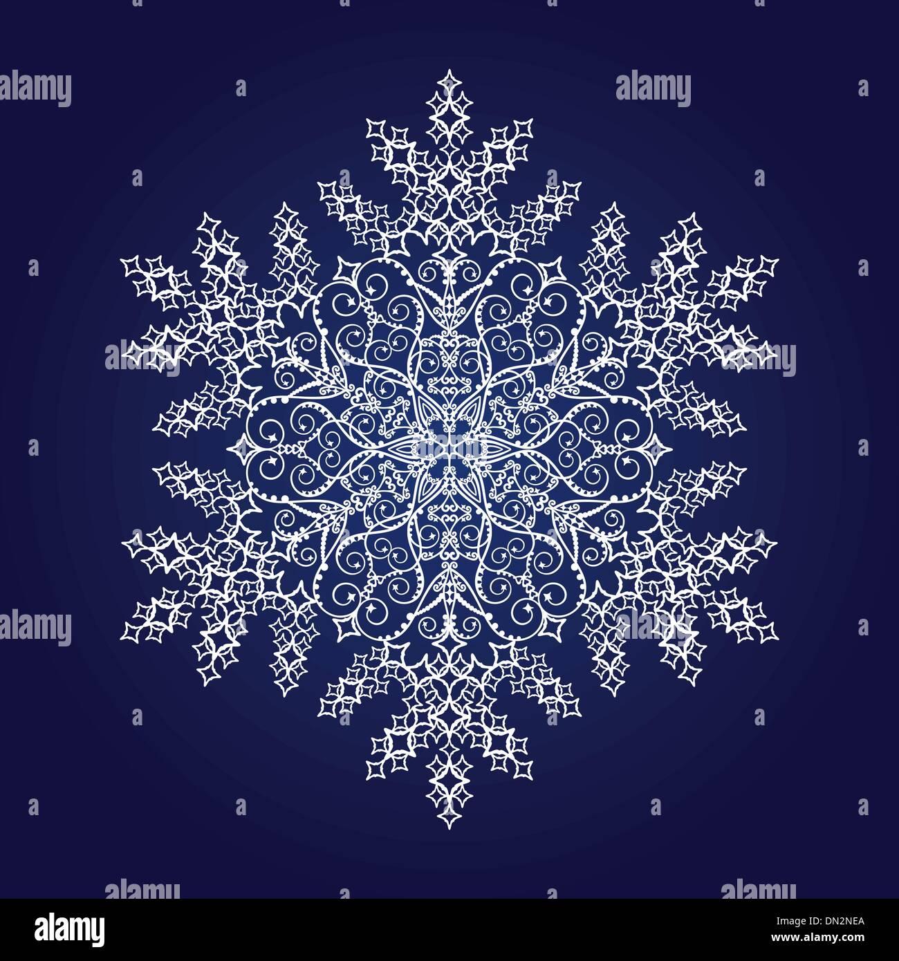 Einzigen detaillierten Schneeflocke auf dunkelblauem Hintergrund Stockbild