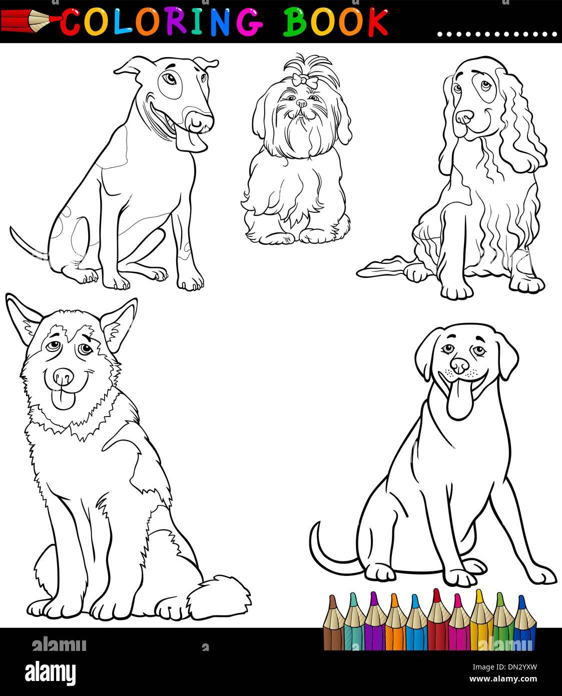 Comic-Hunde oder Welpen Malvorlagen Vektor Abbildung - Bild ...