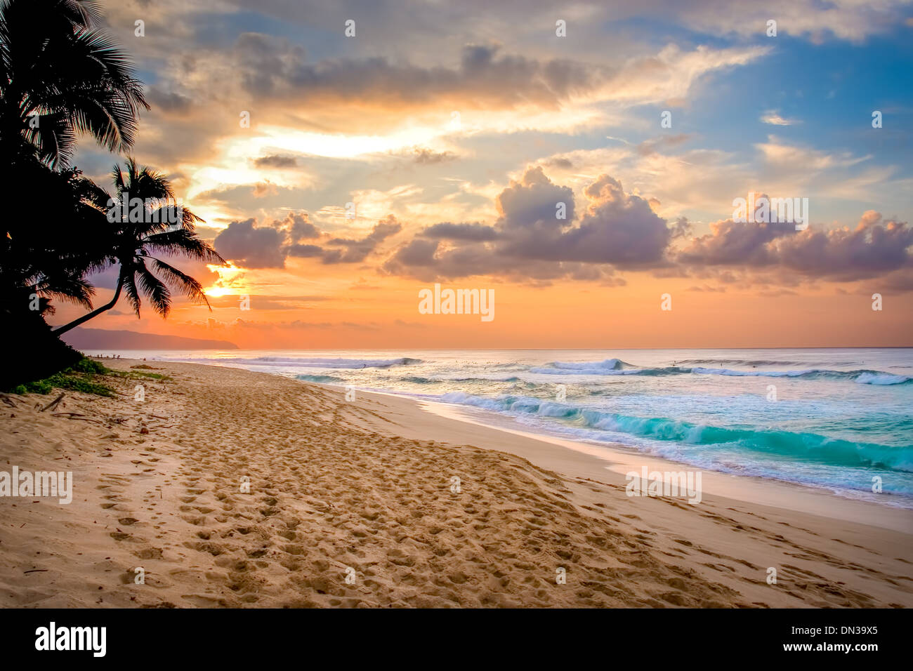 HAWAII Bunten Tropischen Sonnenuntergang Am Sunset Beach Park North Shore Oahu Island US Bundesstaat Hawaii