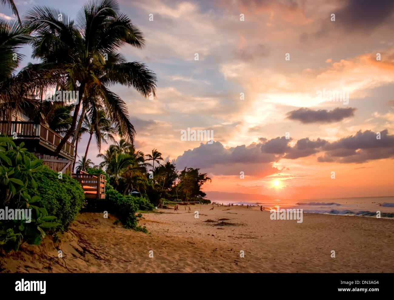 HAWAII Bunten Tropischen Sonnenuntergang Im Sunset Beach Park North Shore Oahu Island Bundesstaat Hawaii