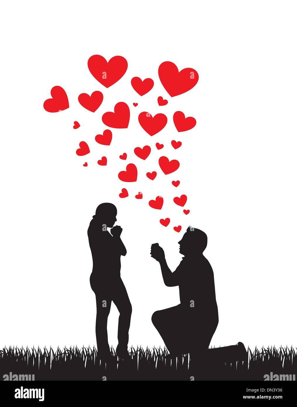 Vorschlag-Hochzeit Stockbild