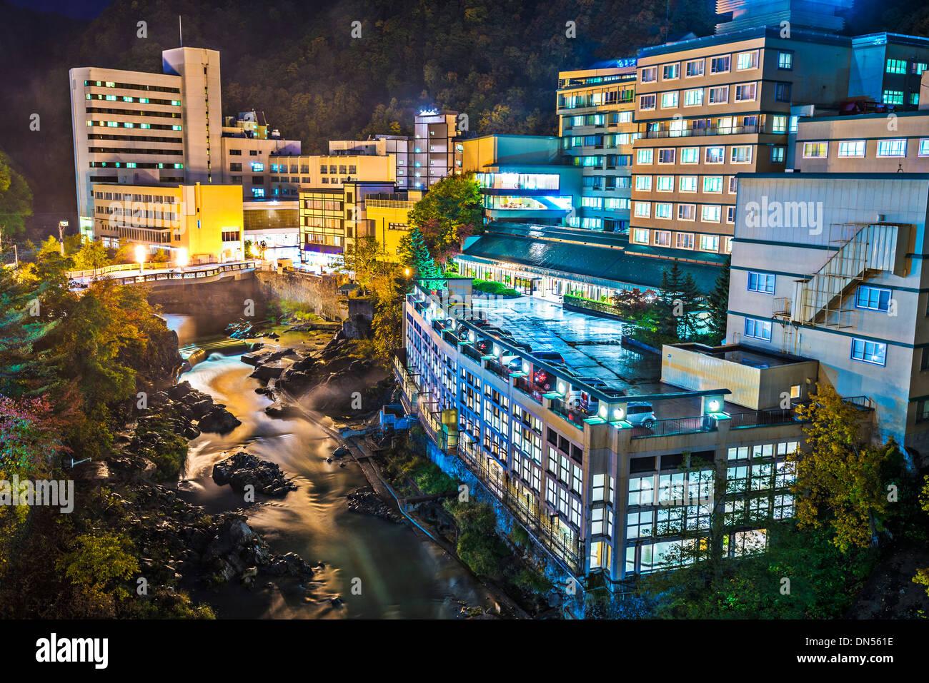 Hot Spring Resort Stadt von Jozankei, Hokkaido, Japan in der Nähe von Sapporo. Stockbild