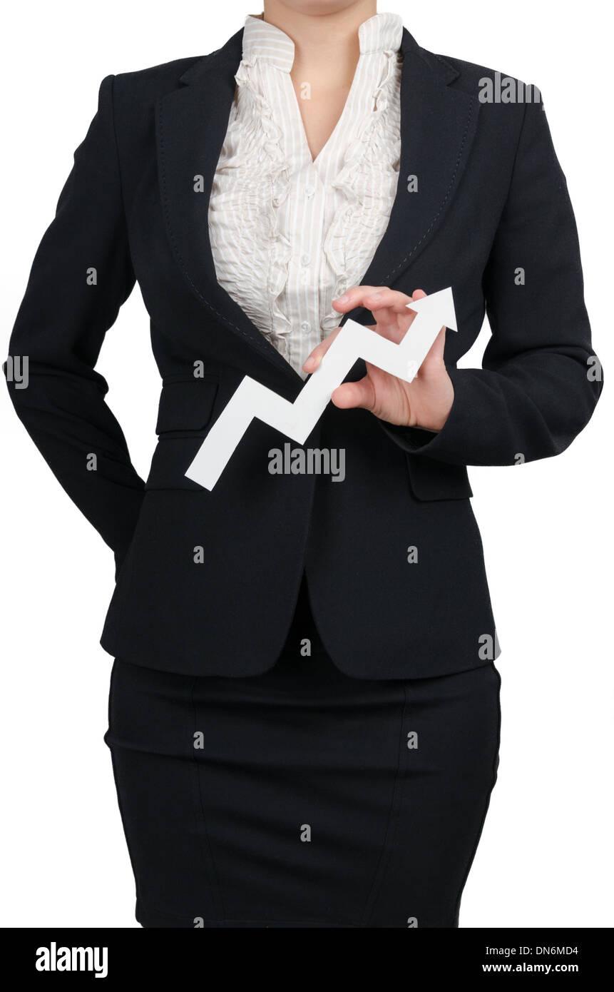 Business-Frau zeigt Gewinne bis Stockbild