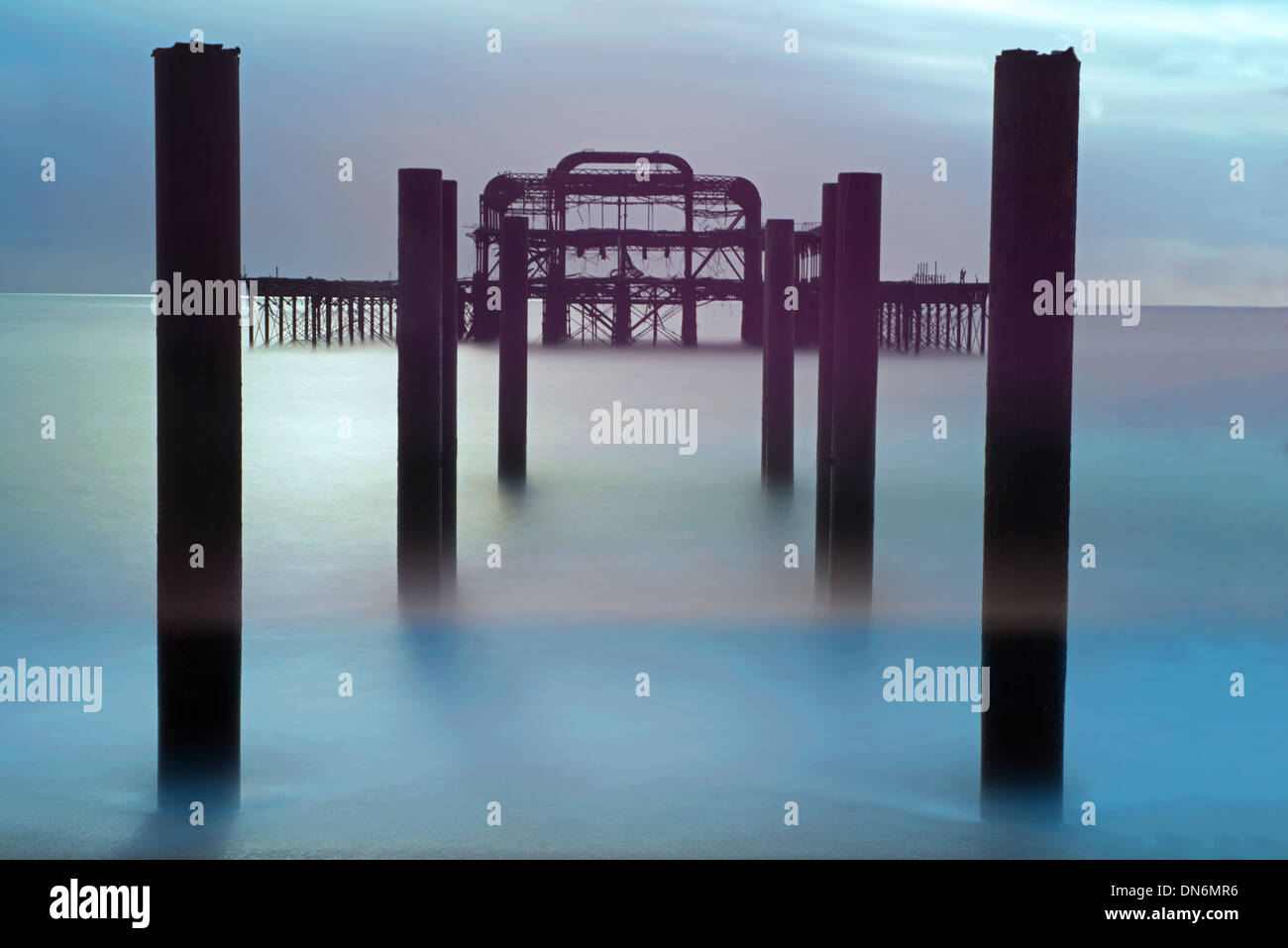 Die Überreste der West Pier, Hove, East Sussex, England, Uk Stockbild