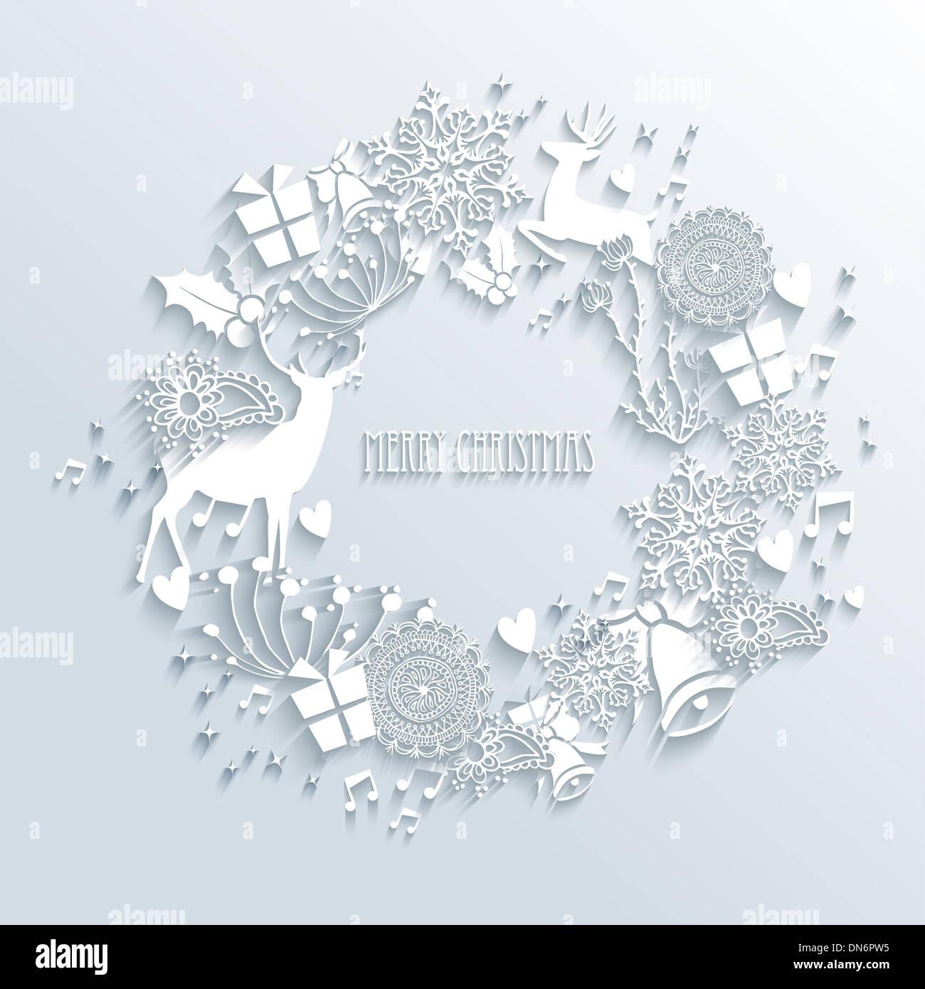 Frohe Weihnachten zeitgenössische Kranz mit 3D-Elementen Saison weiß ...