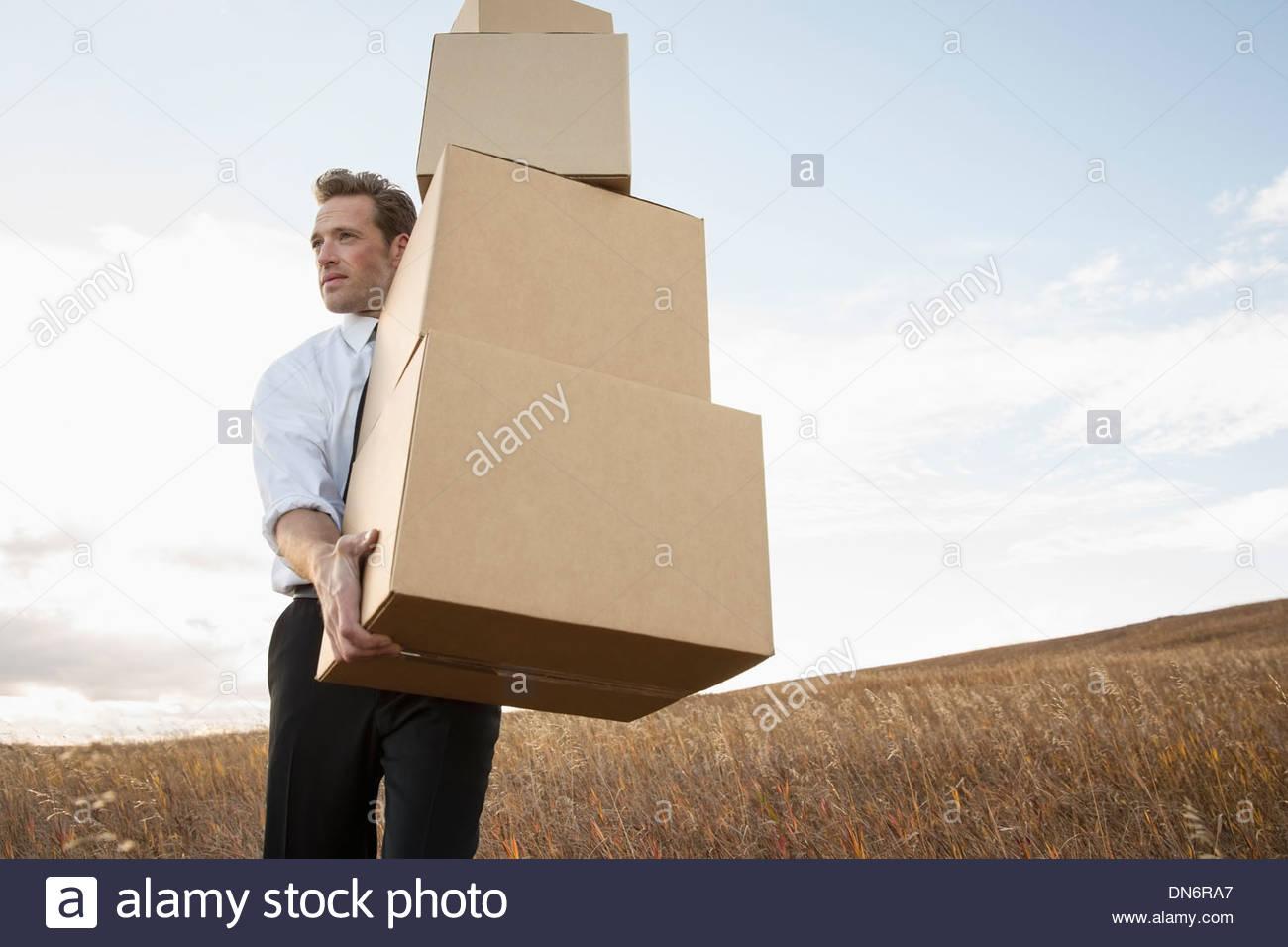 Geschäftsmann mit gestapelten Kisten auf Feld Stockbild