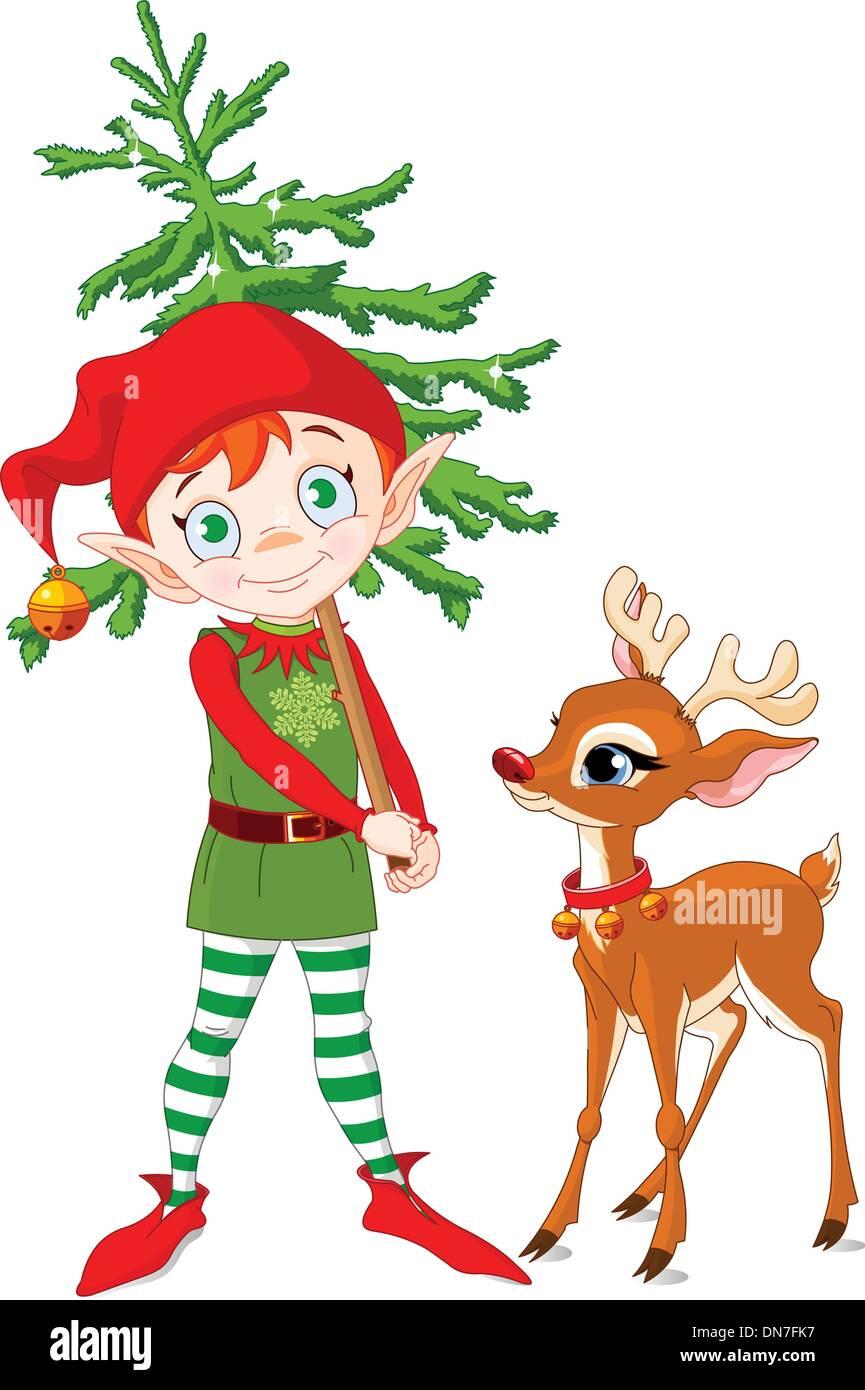 Elf und Rudolf Vektor Abbildung - Bild: 64704843 - Alamy
