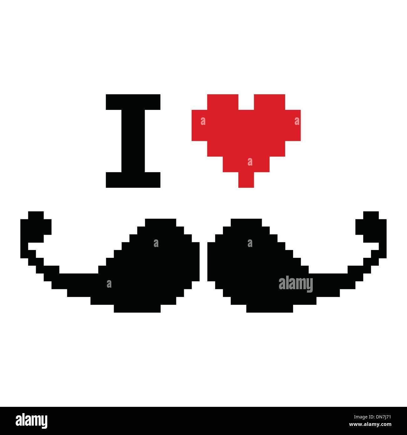 Ich liebe Schnurrbart pixelig, Retro-geeky Zeichen Stock Vektor
