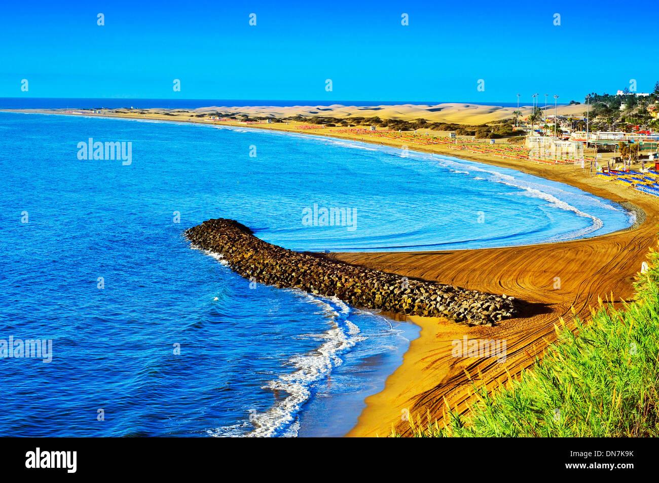 Playa del Ingles Strand und Dünen von Maspalomas, Gran Canaria, Kanarische Inseln, Spanien Stockbild