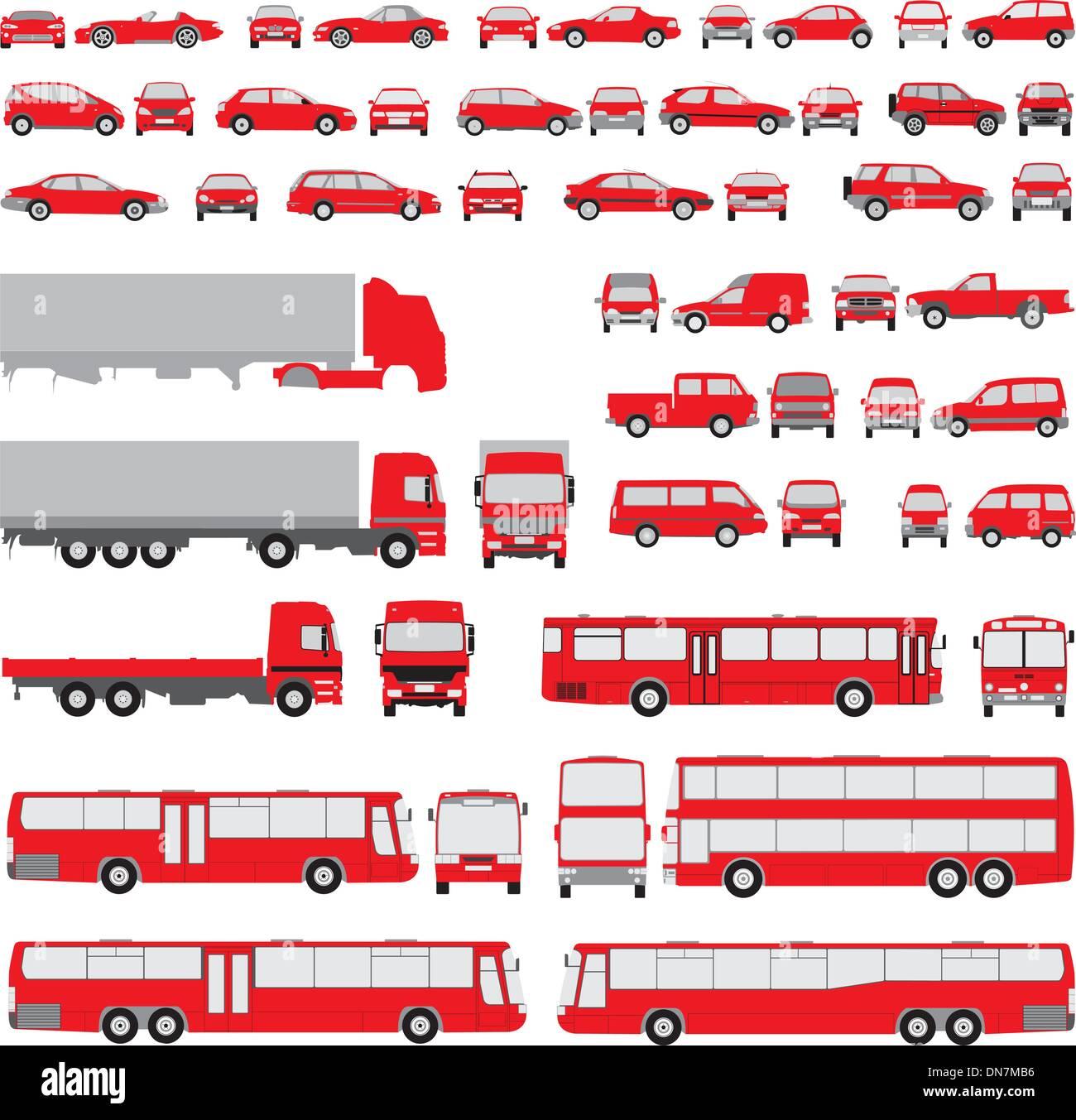 Fahrzeug-sortierte Silhouetten Stockbild
