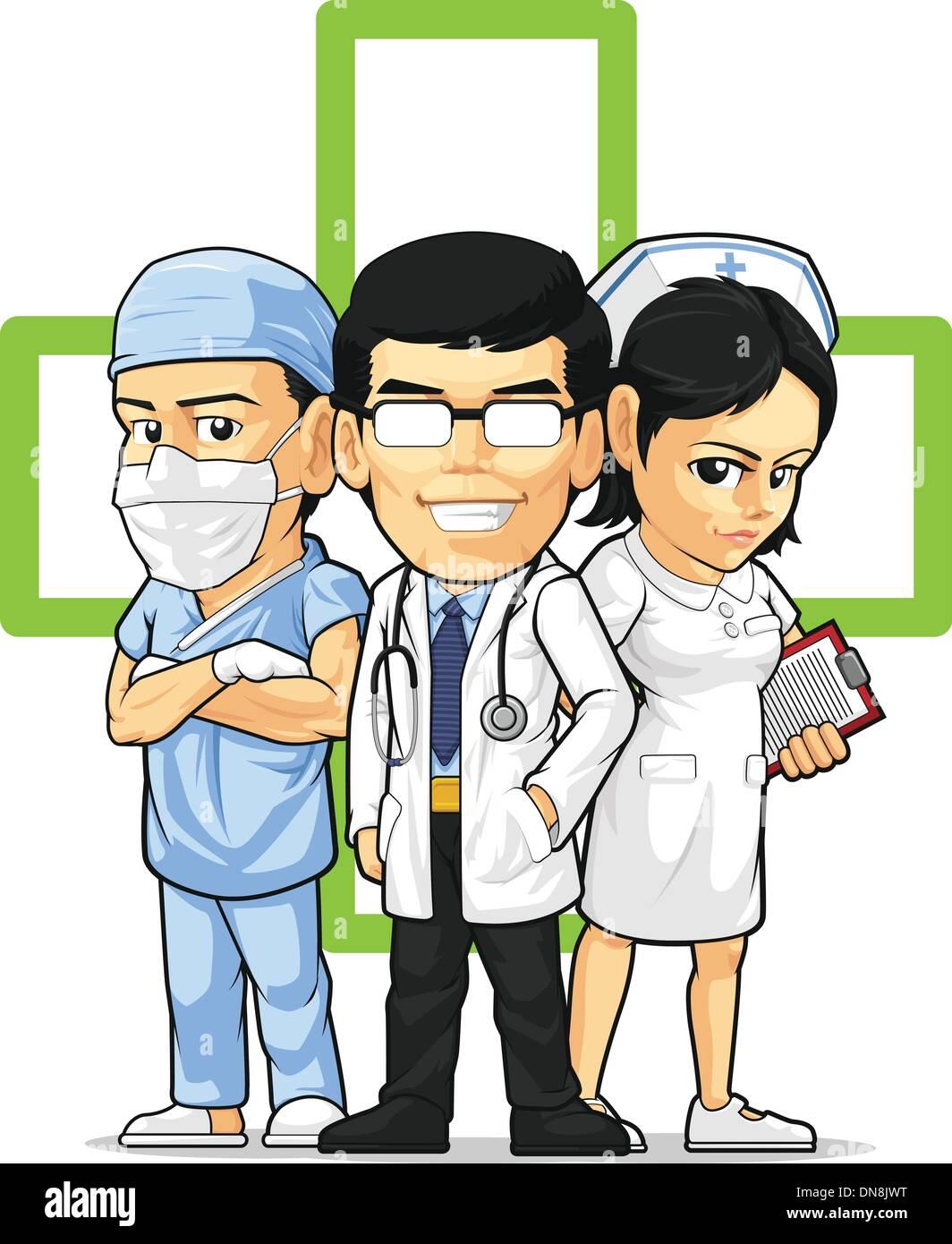 Health Care oder medizinisches Personal - Arzt, Krankenschwester & Chirurg Stockbild