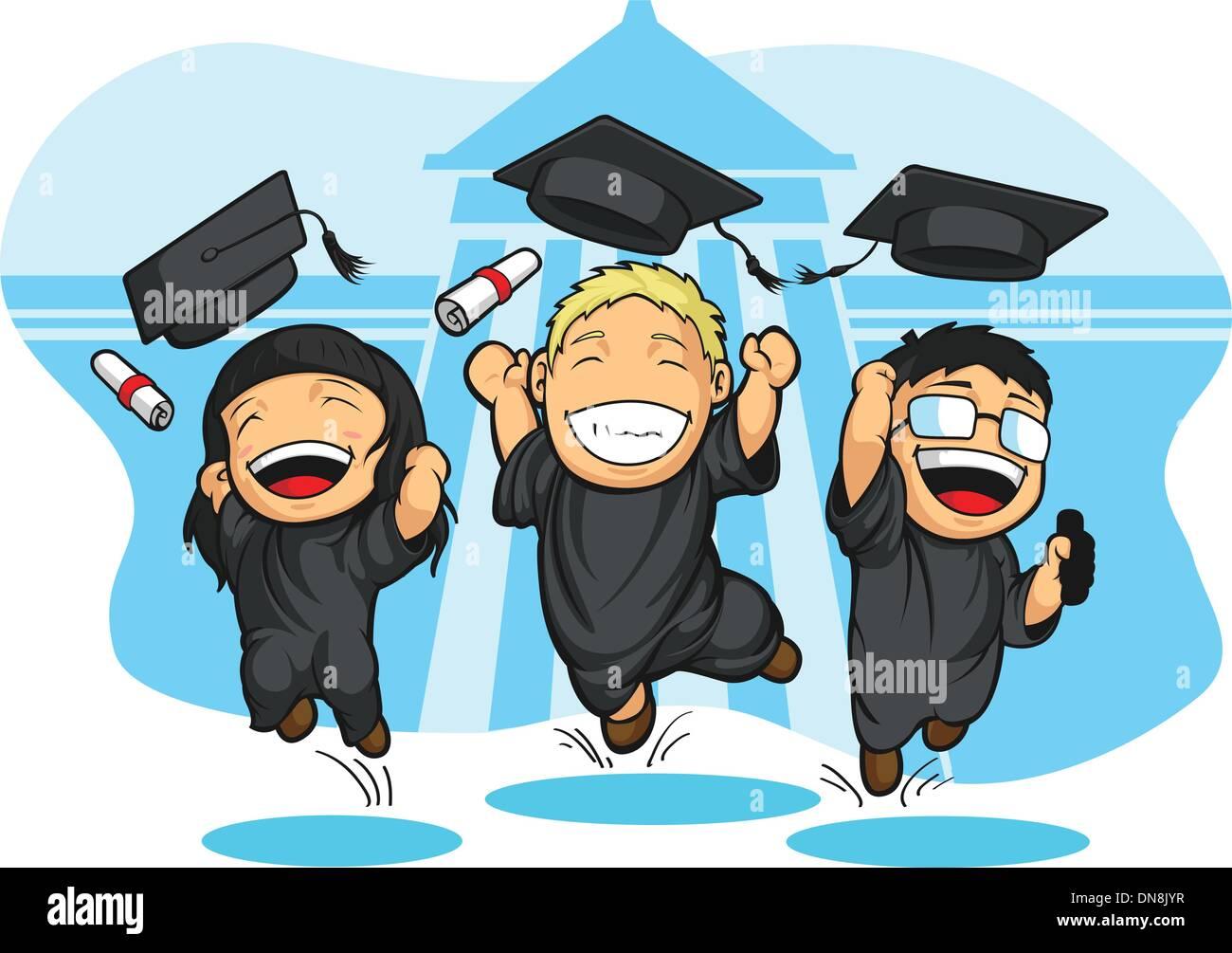 Schule College Abschluss Cartoon Vektor Abbildung Bild 64729387