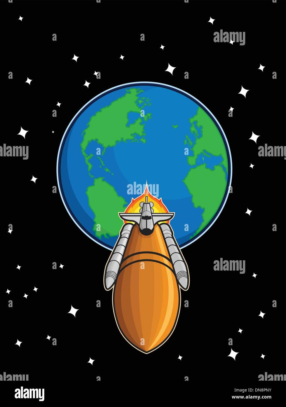 Space Shuttle fliegen von der Erde Stockbild