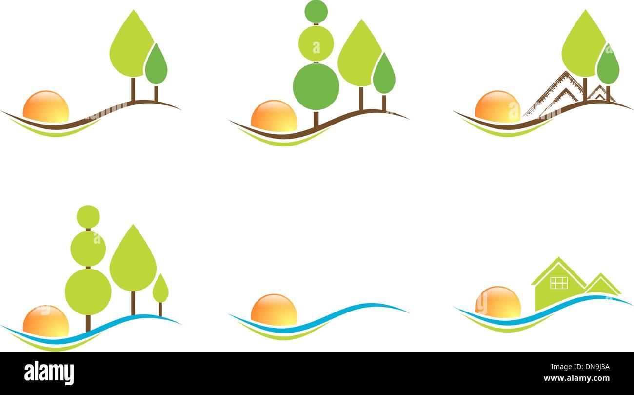 Realty und Landschaft Design Collection Stockbild