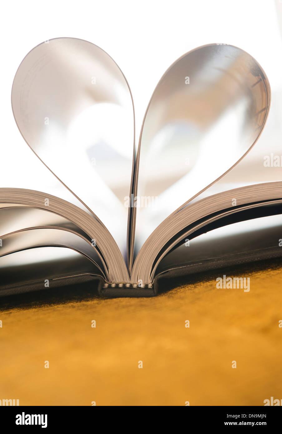 Seiten eines Buches wie ein Herz geformt Stockbild