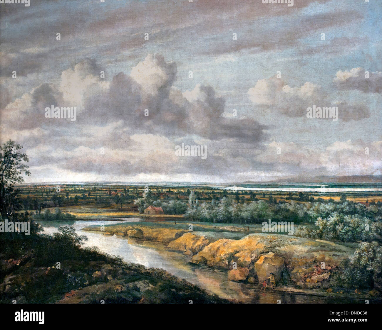 Panorama-Landschaft 1650 Philip de Koninck oder Philips Koninck 1619 ? 1688Dutch Niederlande Stockbild