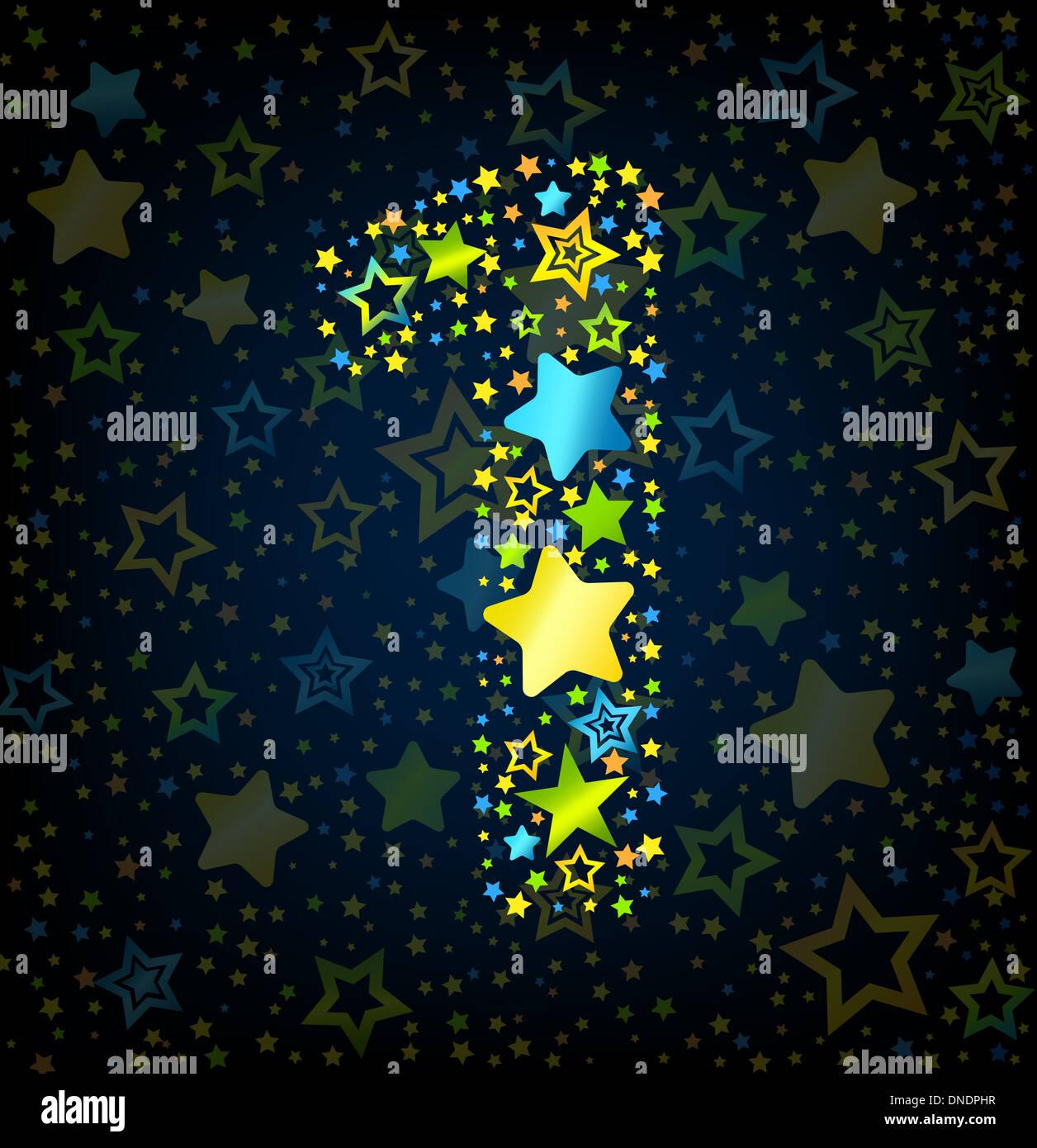 Nummer 1 Cartoon Sterne farbig Stockbild