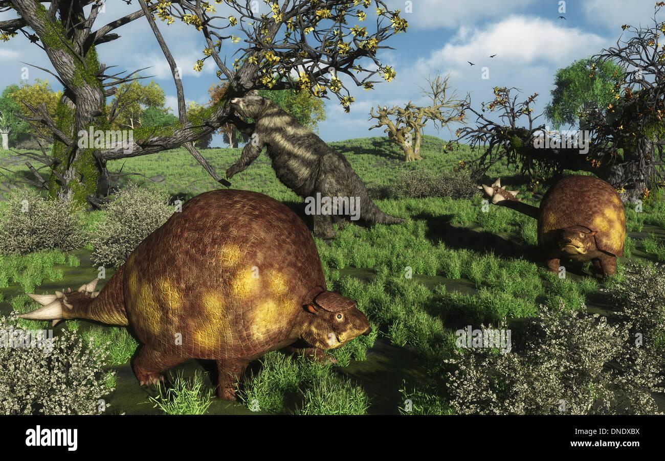 Prähistorische Glyptodonts grasen auf Grasebenen. Ein Eremotherium ist im Hintergrund. Stockfoto