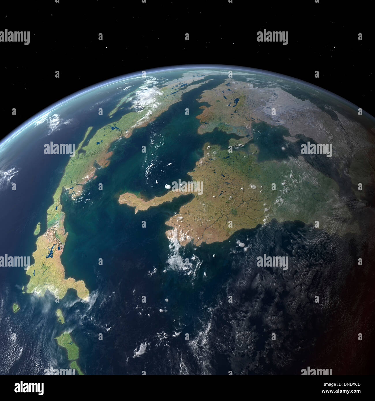 Der Western Interior Seaway aus einer Erdumlaufbahn vor 75 Millionen Jahren gesehen. Stockbild