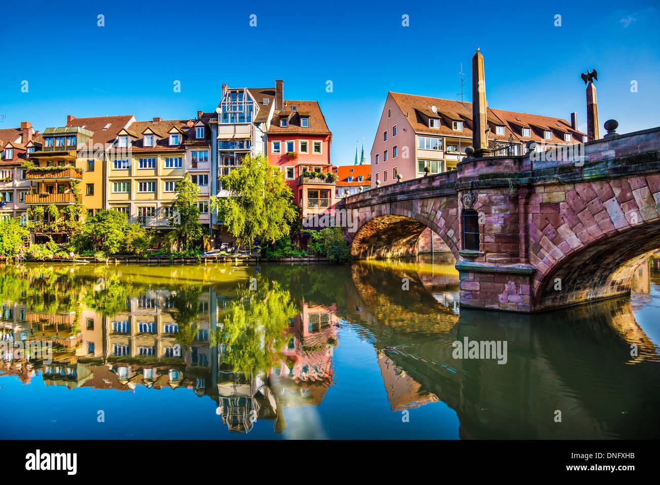 Nürnberg Altstadt am Fluss Pegnitz. Stockbild