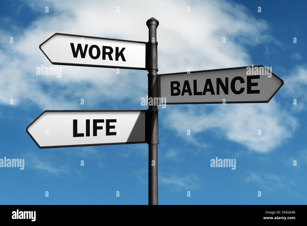 Lebensentscheidungen Gleichgewicht zu arbeiten Stockbild