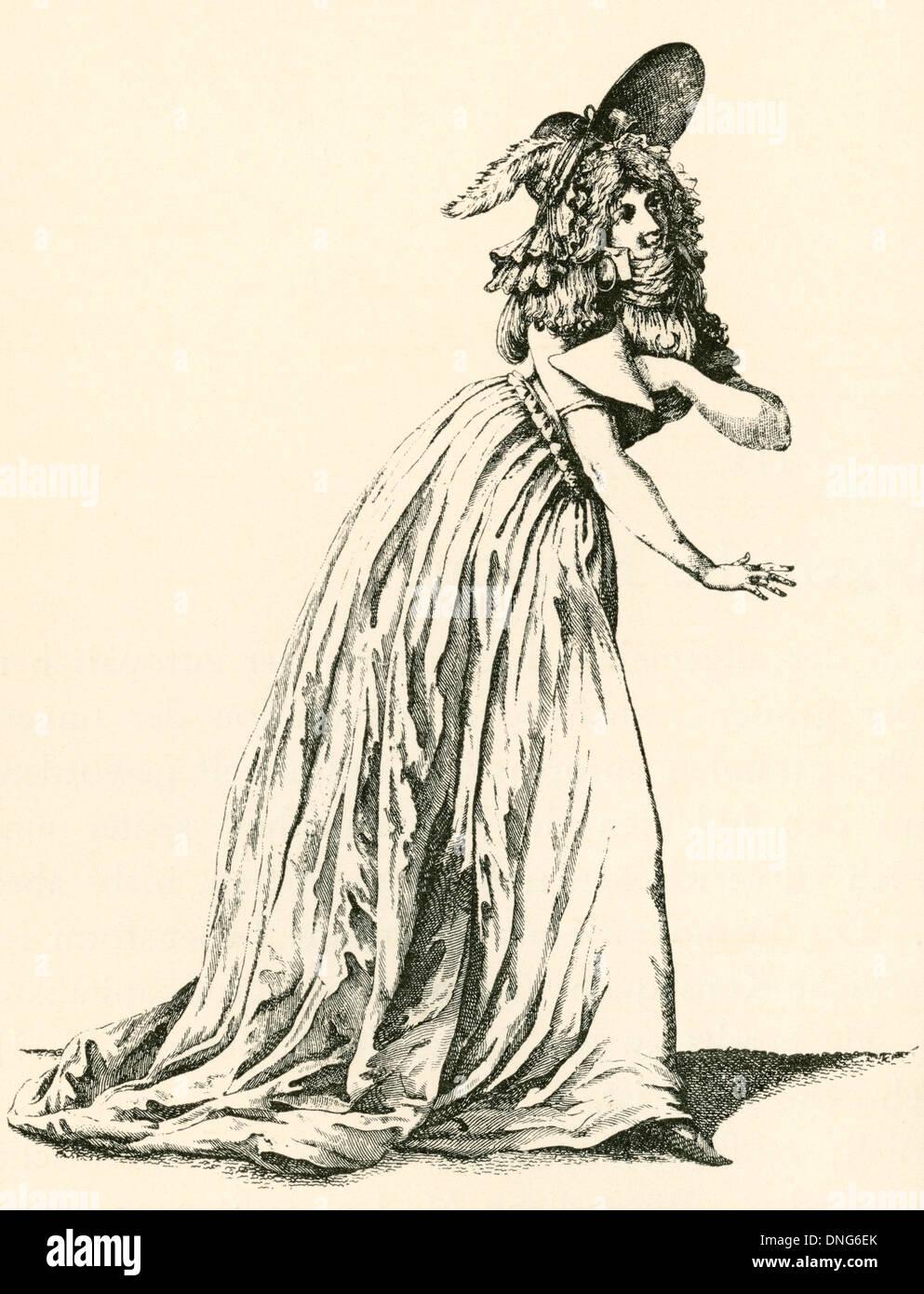 Die Damenmode während der französischen Revolution. Stockbild