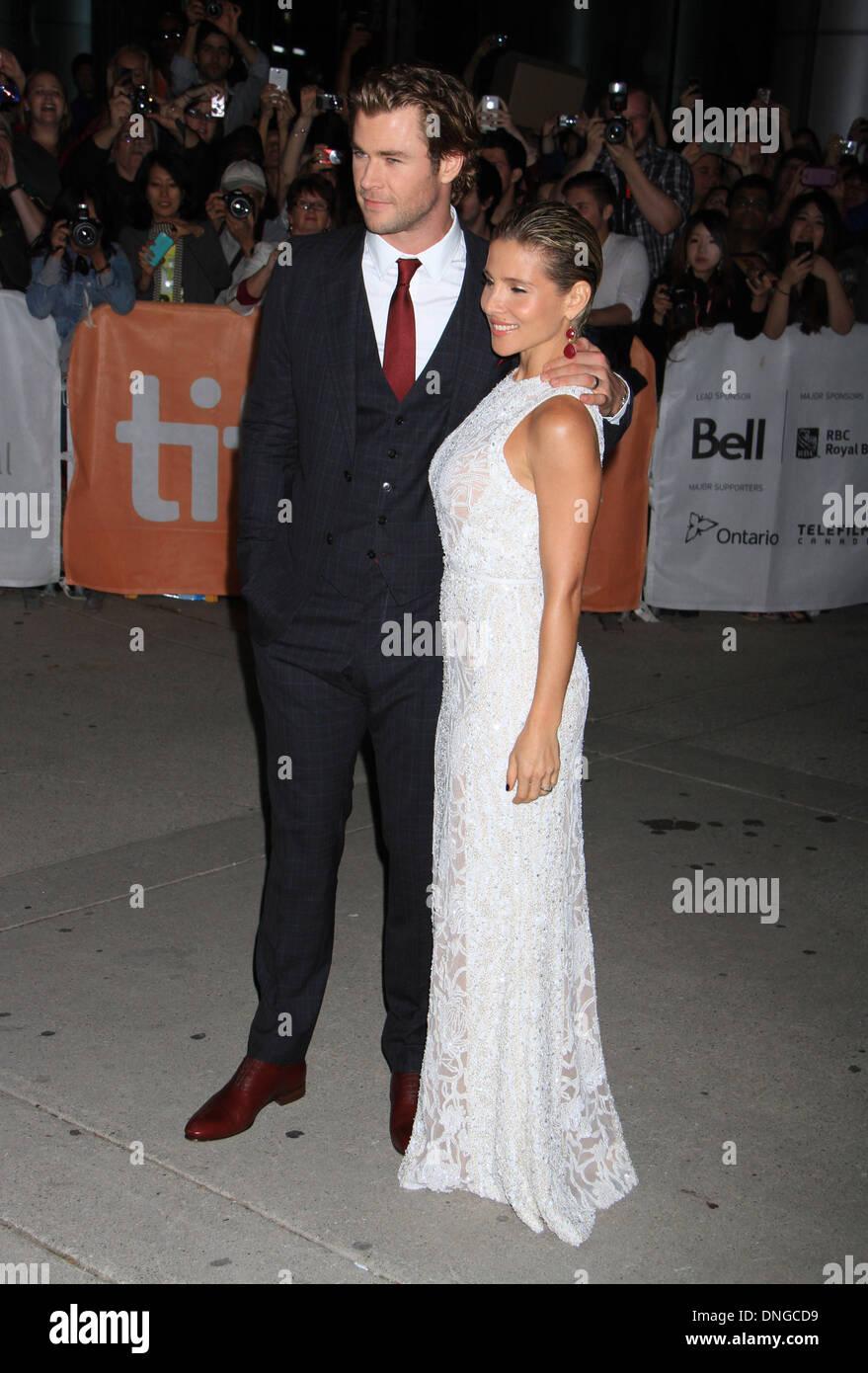 "Toronto, ON, Kanada. 9. September 2013. Chris Hemsworth, Elsa Pataky bei der Premiere von ""Rush"" auf 2013 Toronto Stockfoto"