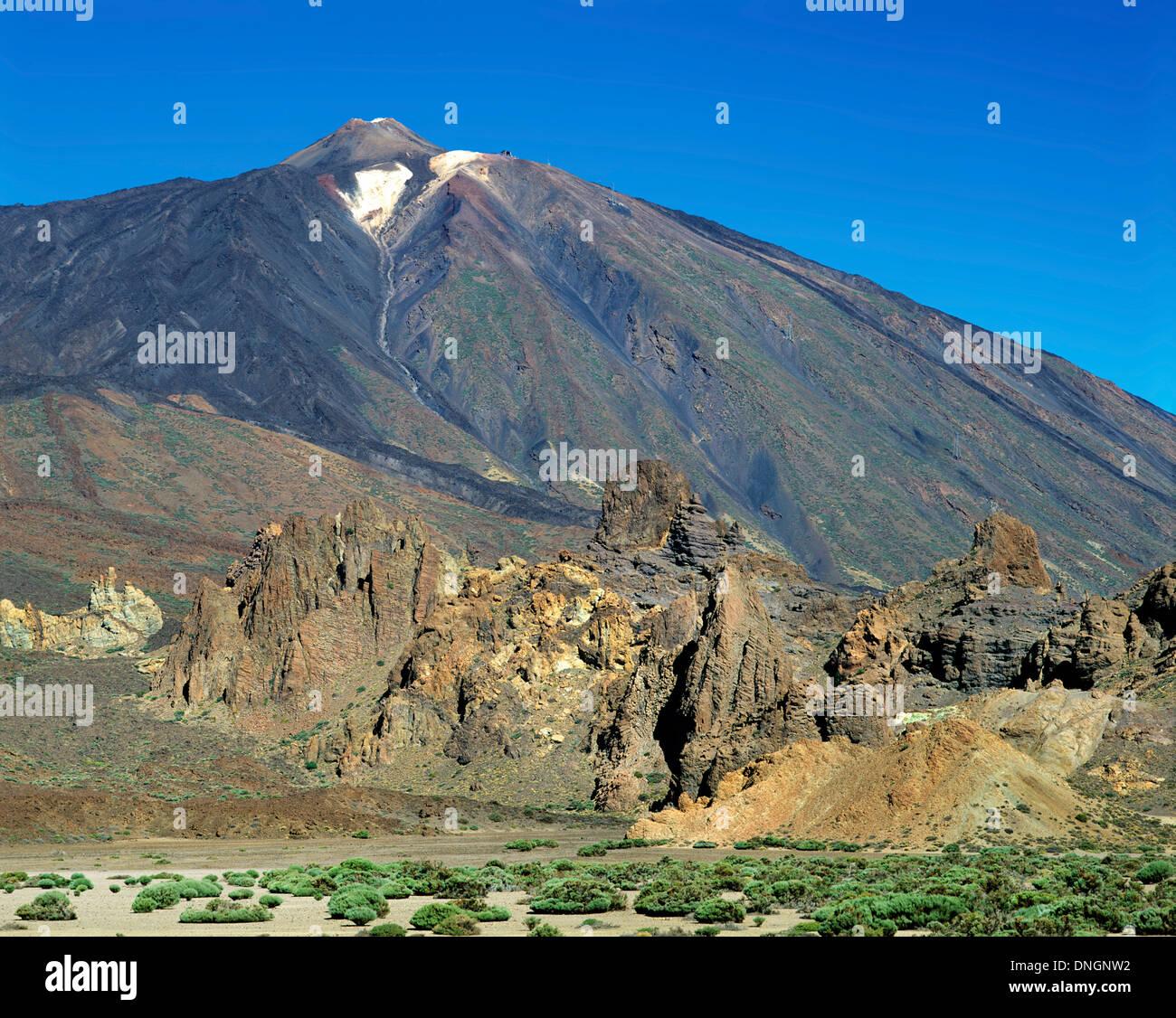 Blick auf den Teide zeigt Caldera Las Canadas, Santa Cruz De Tenerife, Teneriffa, Spanien Stockbild