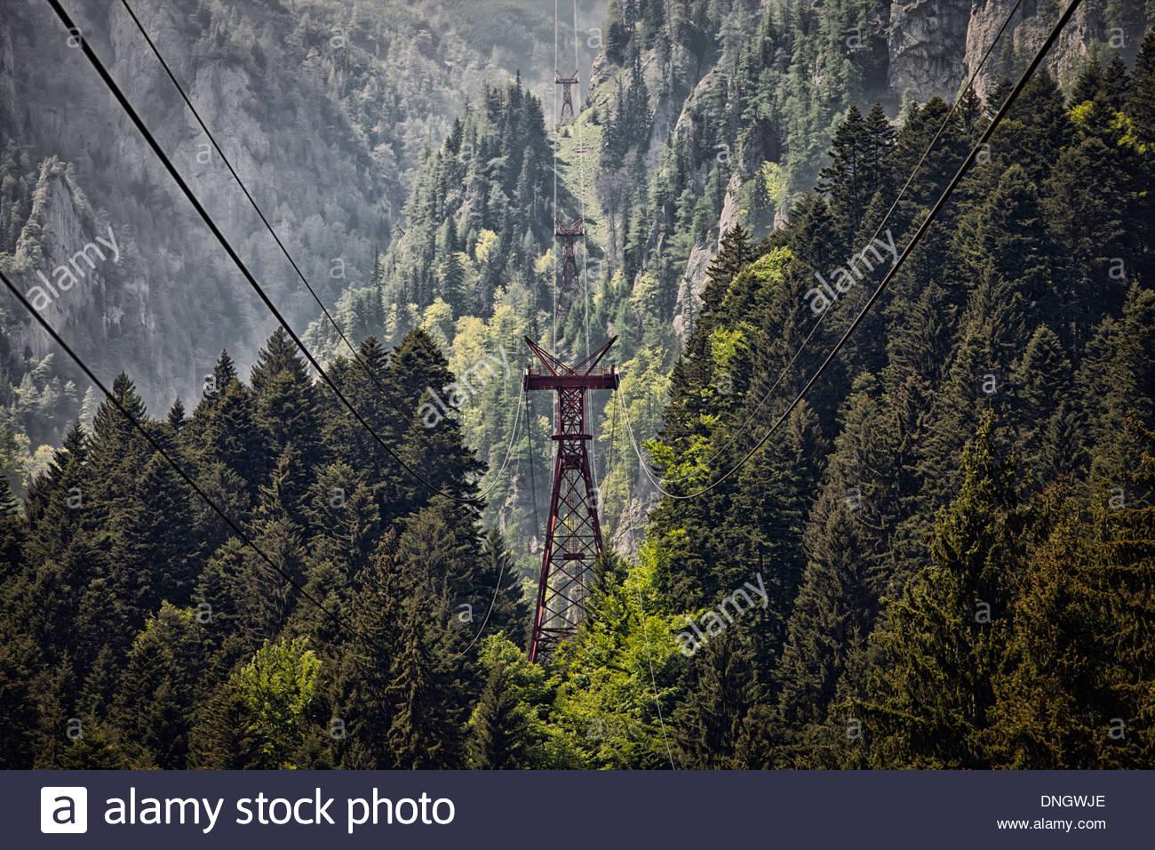 Seilbahn-Infrastruktur-Rumänien Stockfoto