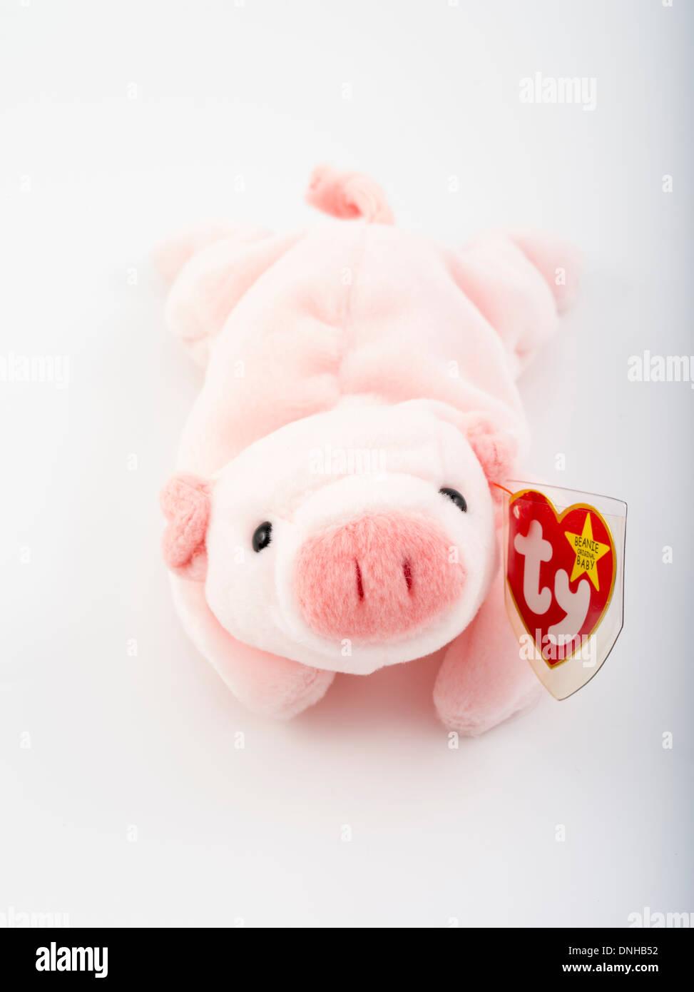 ersten Generation 1993 Beanie Babies - Squealer das Schwein von Ty Warner Inc. Stockbild